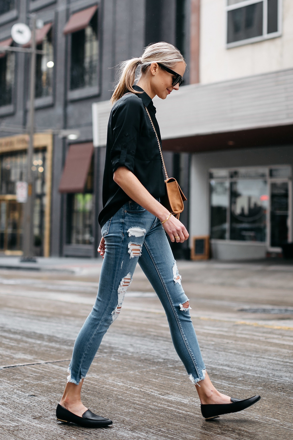 b13a2b8967 Blonde Woman Wearing Express Black Equipment Shirt Denim Ripped Skinny Jeans  Black Loafers Fashion Jackson Dallas