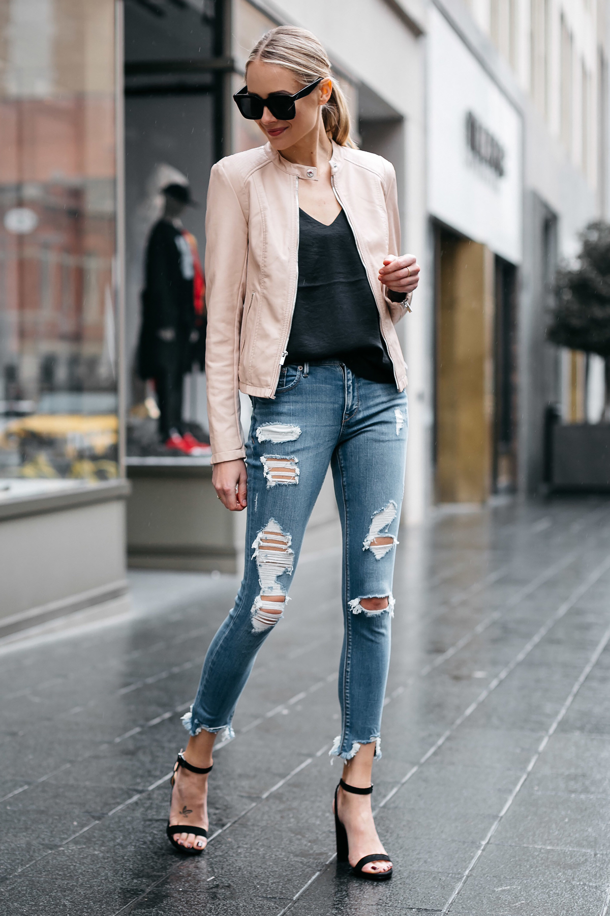 Blonde Woman Wearing Express Blush Leather Jacket Denim Ripped Skinny Jeans Black Ankle Strap Heeled Sandals Fashion Jackson Dallas Blogger Fashion Blogger Street Style