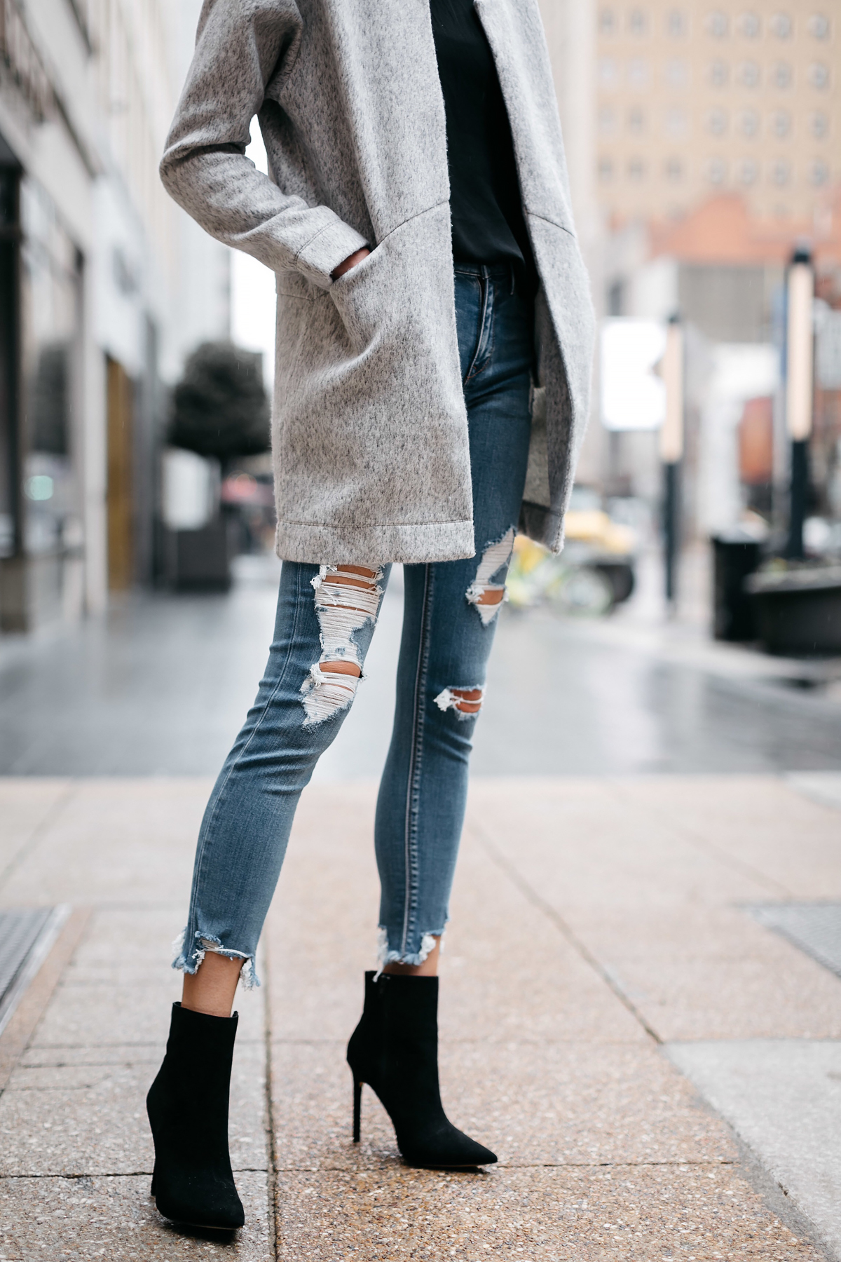 Woman Wearing Express Grey Coat Denim Ripped Skinny Jeans Black Booties Fashion Jackson Dallas Blogger Fashion Blogger Street Style