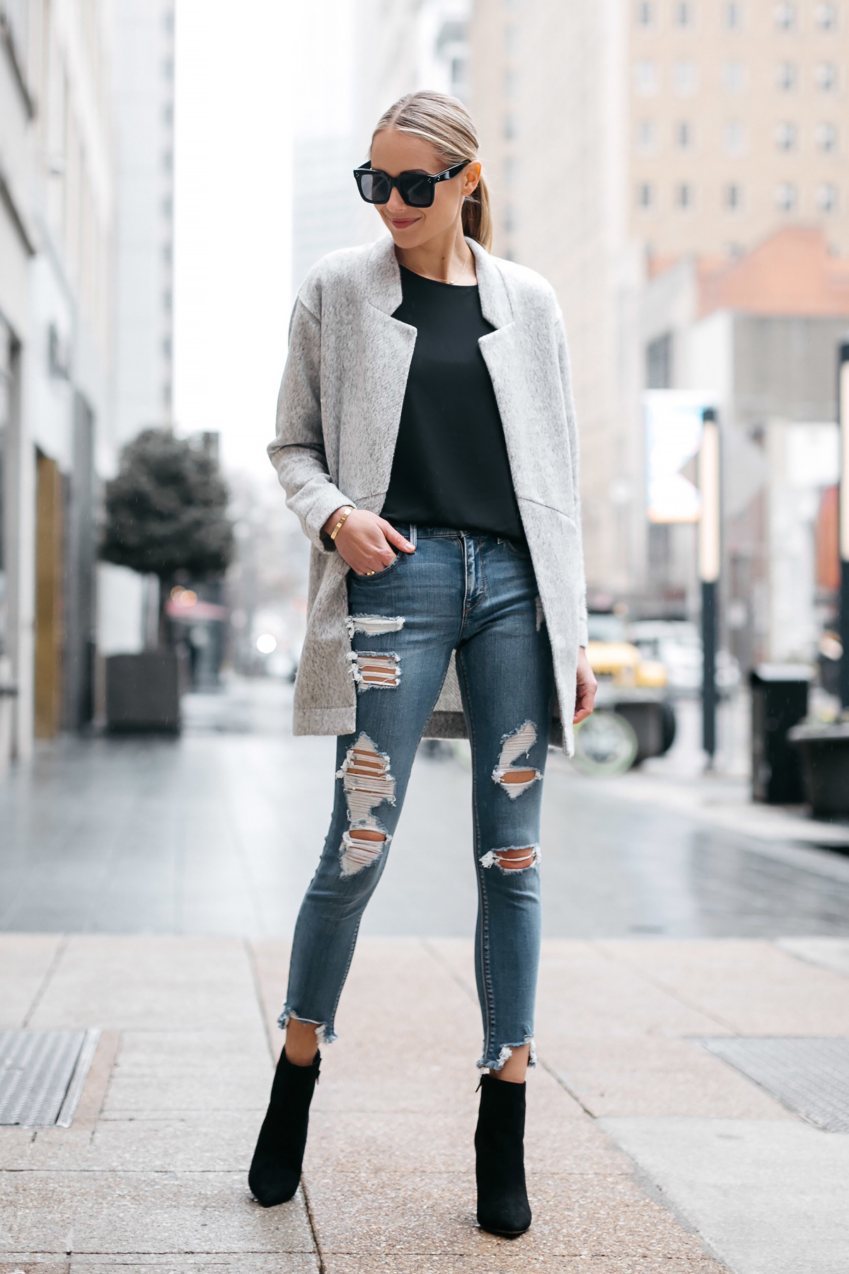 Blonde Woman Wearing Express Grey Coat Denim Ripped Skinny Jeans Black Booties Fashion Jackson Dallas Blogger Fashion Blogger Street Style