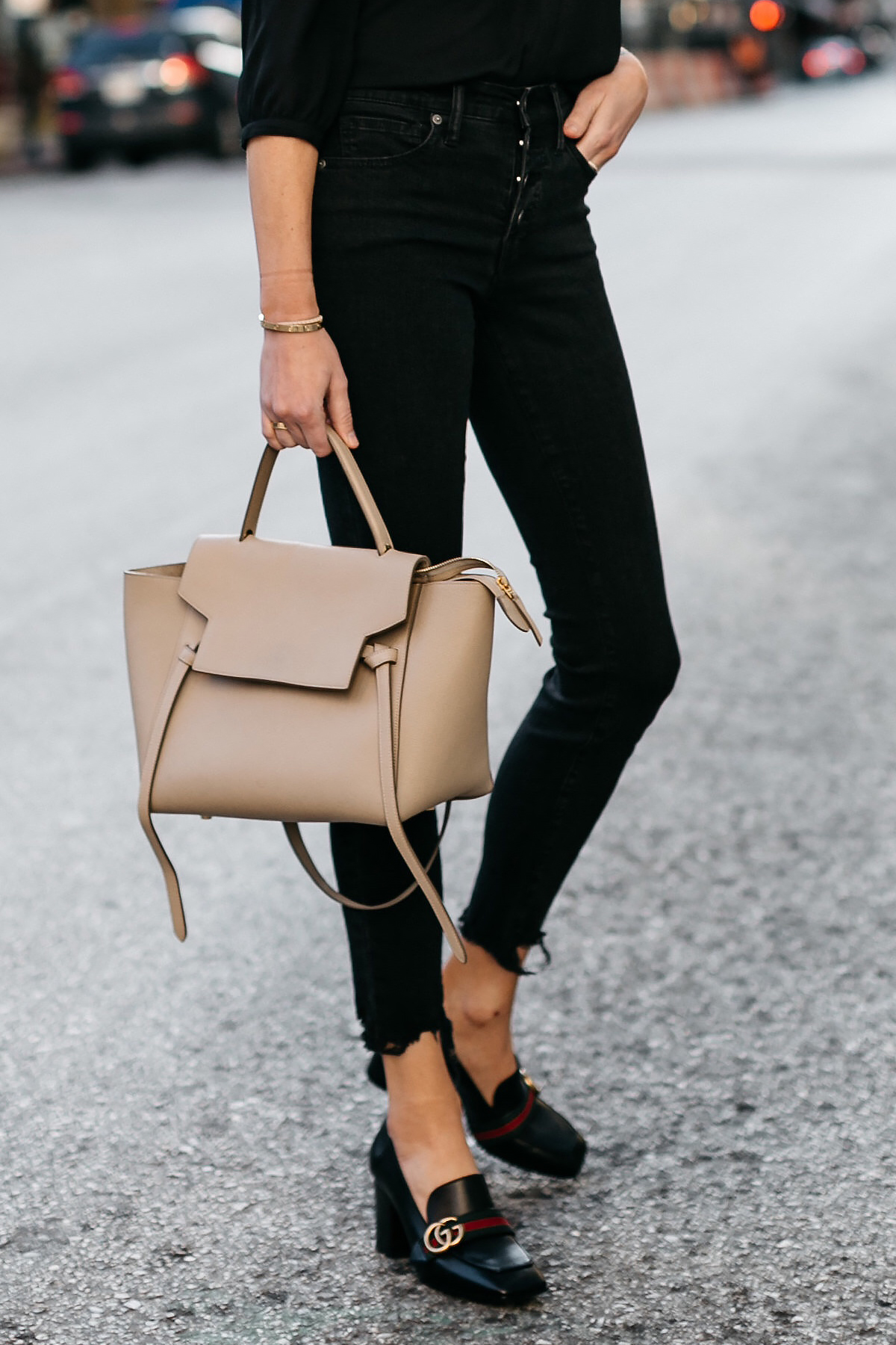 Woman Wearing Gucci Black Peyton Block Heel Pumps Celine Belt Bag Madewell Black Skinny Jeans Fashion Jackson Dallas Blogger Fashion Blogger Street Style