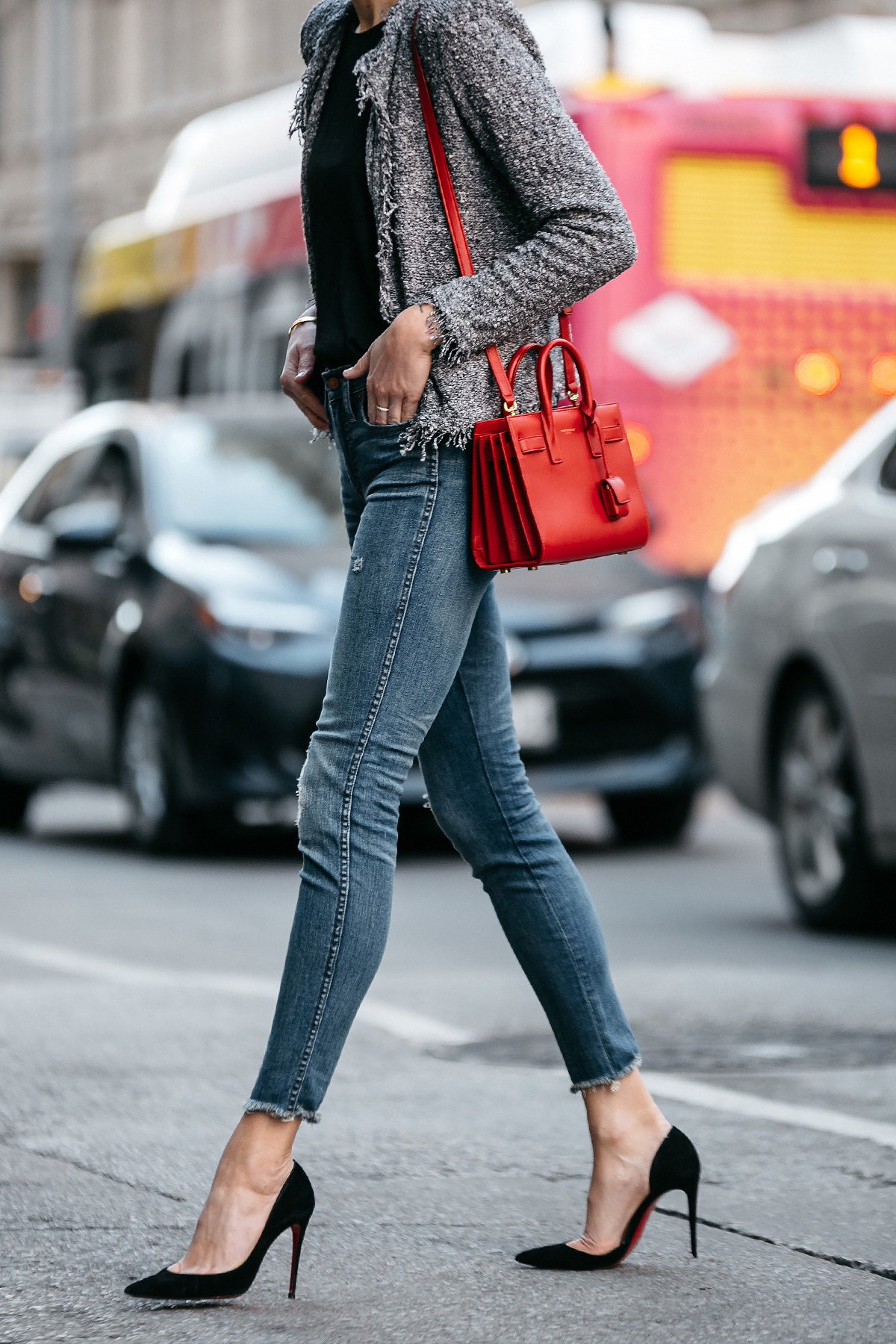 Woman Wearing IRO Shavanix Grey Tweed Jacket Black Top Denim Ripped Skinny Jeans Christian Louboutin Black Pumps Saint Laurent Sac De Jour Red Handbag Fashion Jackson Dallas Blogger Fashion Blogger Street Style
