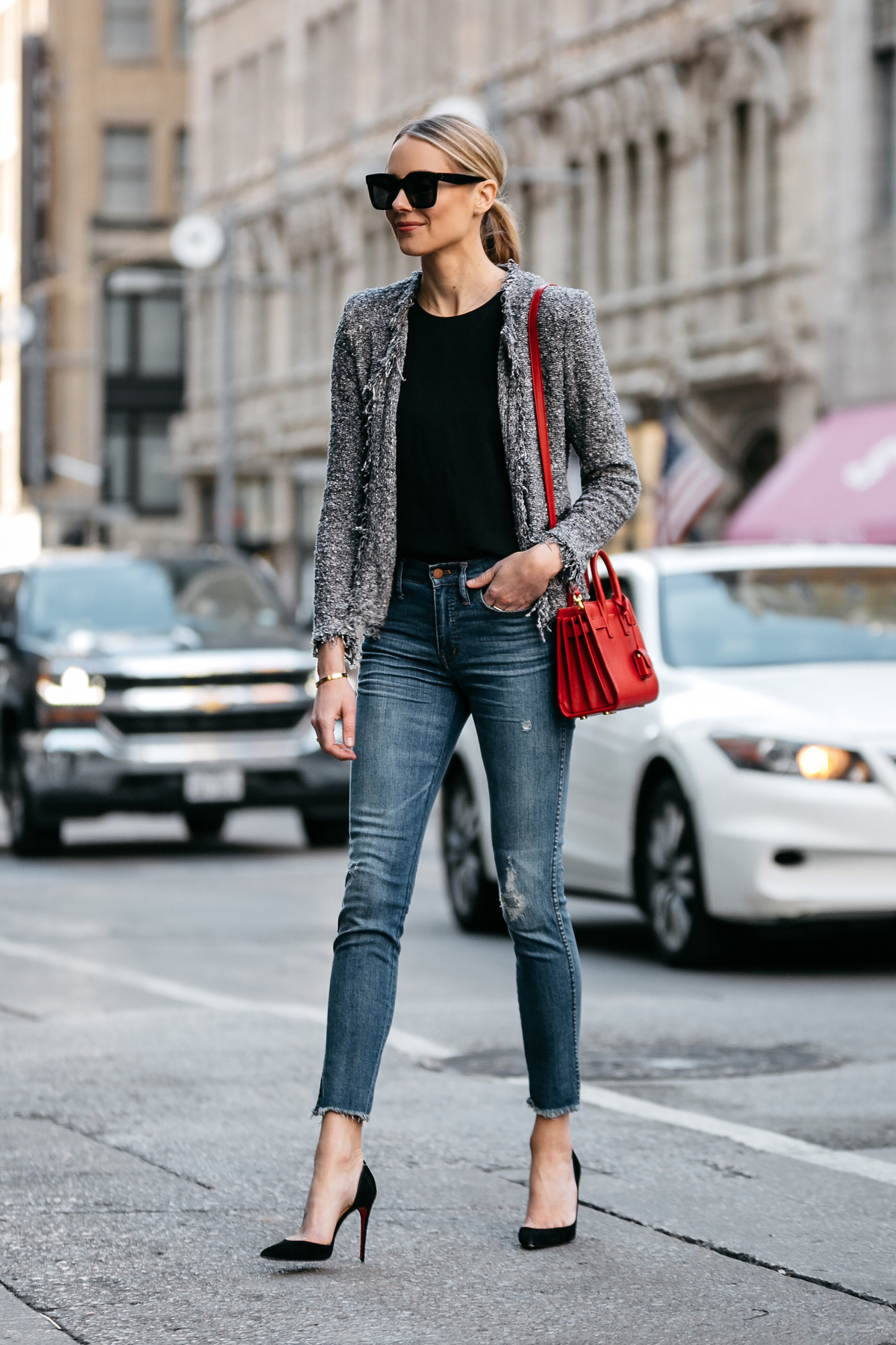 Blonde Woman Wearing IRO Shavanix Grey Tweed Jacket Black Top Denim Ripped Skinny Jeans Christian Louboutin Black Pumps Saint Laurent Sac De Jour Red Handbag Fashion Jackson Dallas Blogger Fashion Blogger Street Style