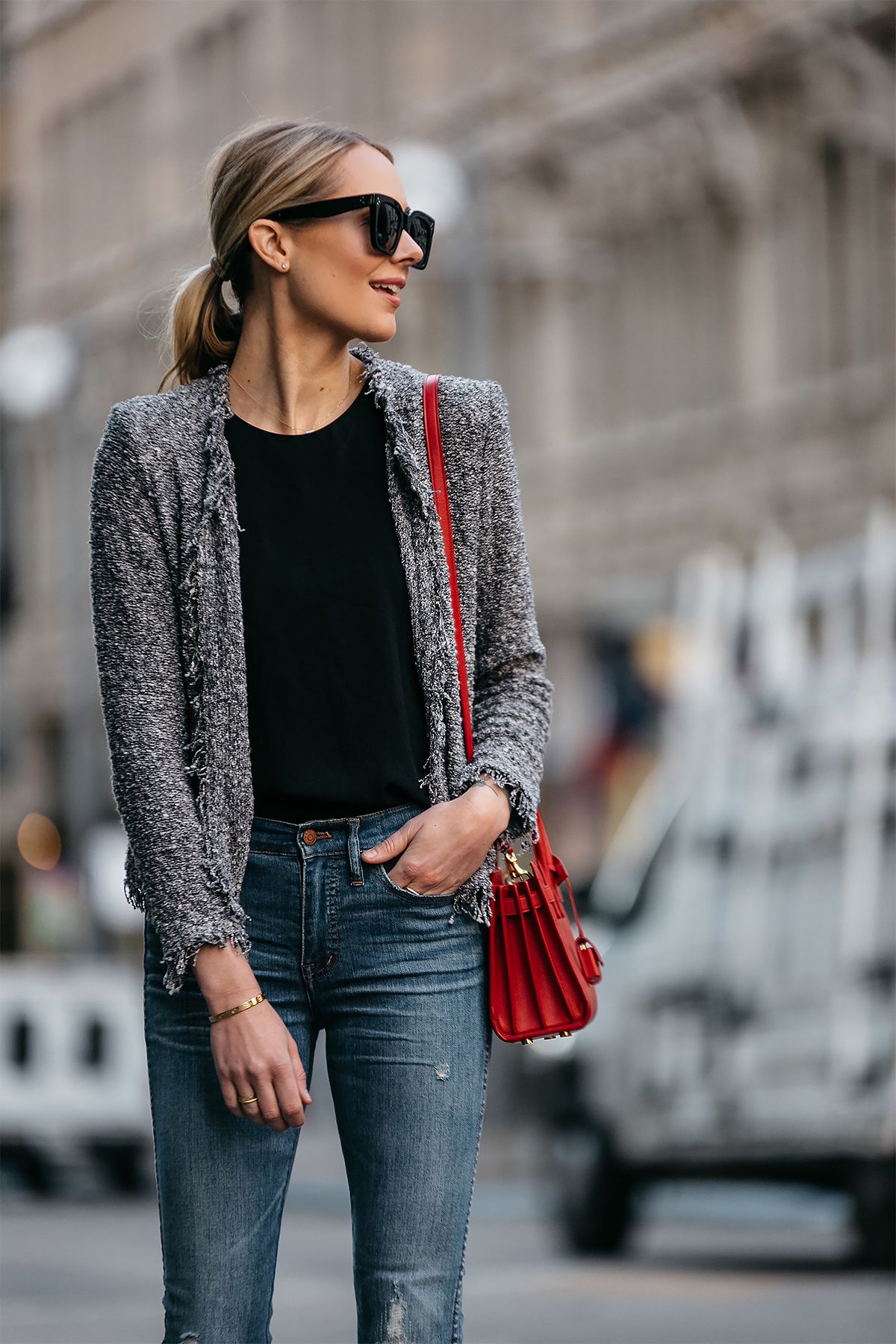 Blonde Woman Wearing IRO Shavanix Grey Tweed Jacket Black Top Denim Ripped Skinny Jeans Red Handbag Fashion Jackson Dallas Blogger Fashion Blogger Street Style