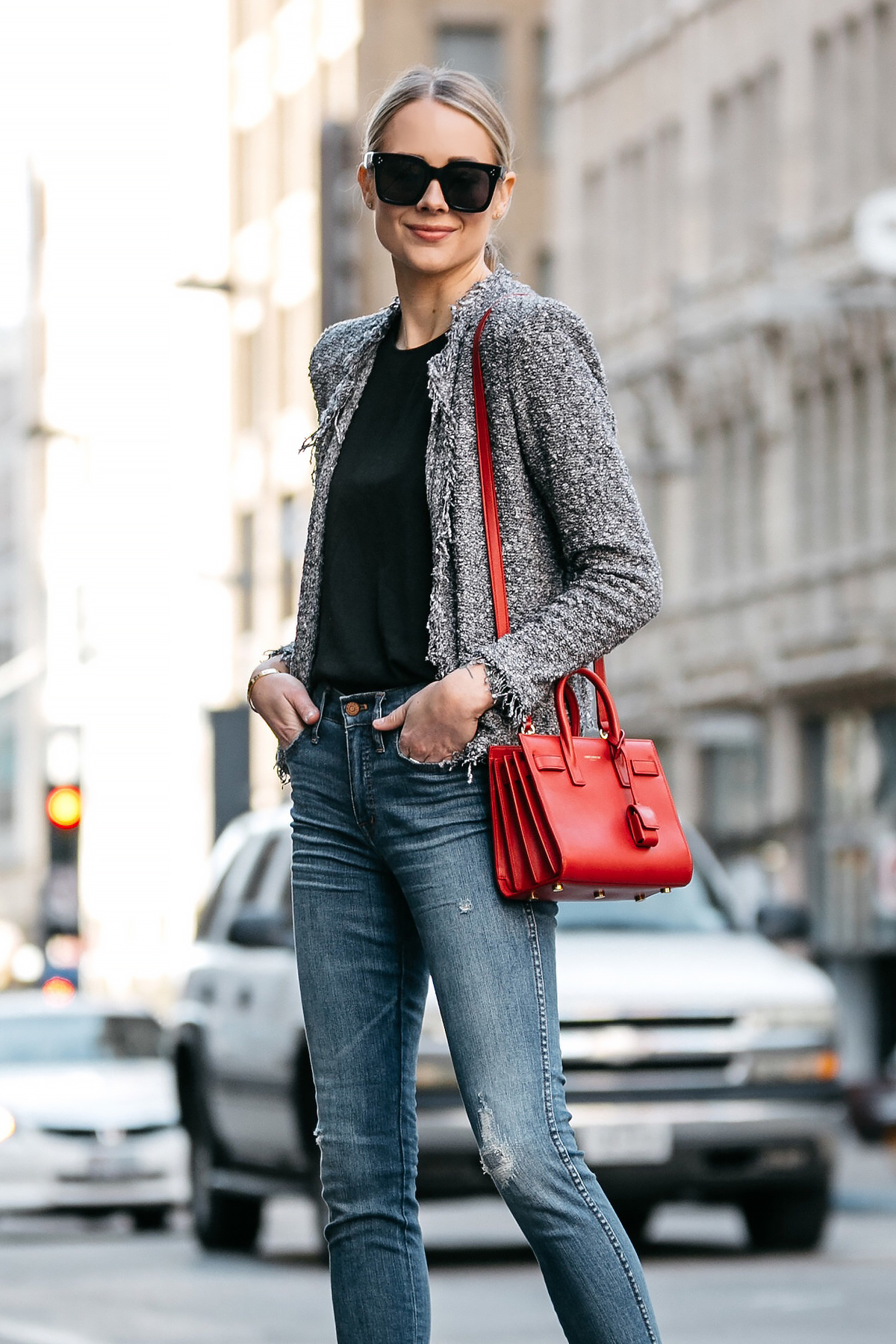 Blonde Woman Wearing IRO Shavanix Grey Tweed Jacket Black Top Denim Ripped Skinny Jeans Saint Laurent Sac De Jour Red Handbag Fashion Jackson Dallas Blogger Fashion Blogger Street Style