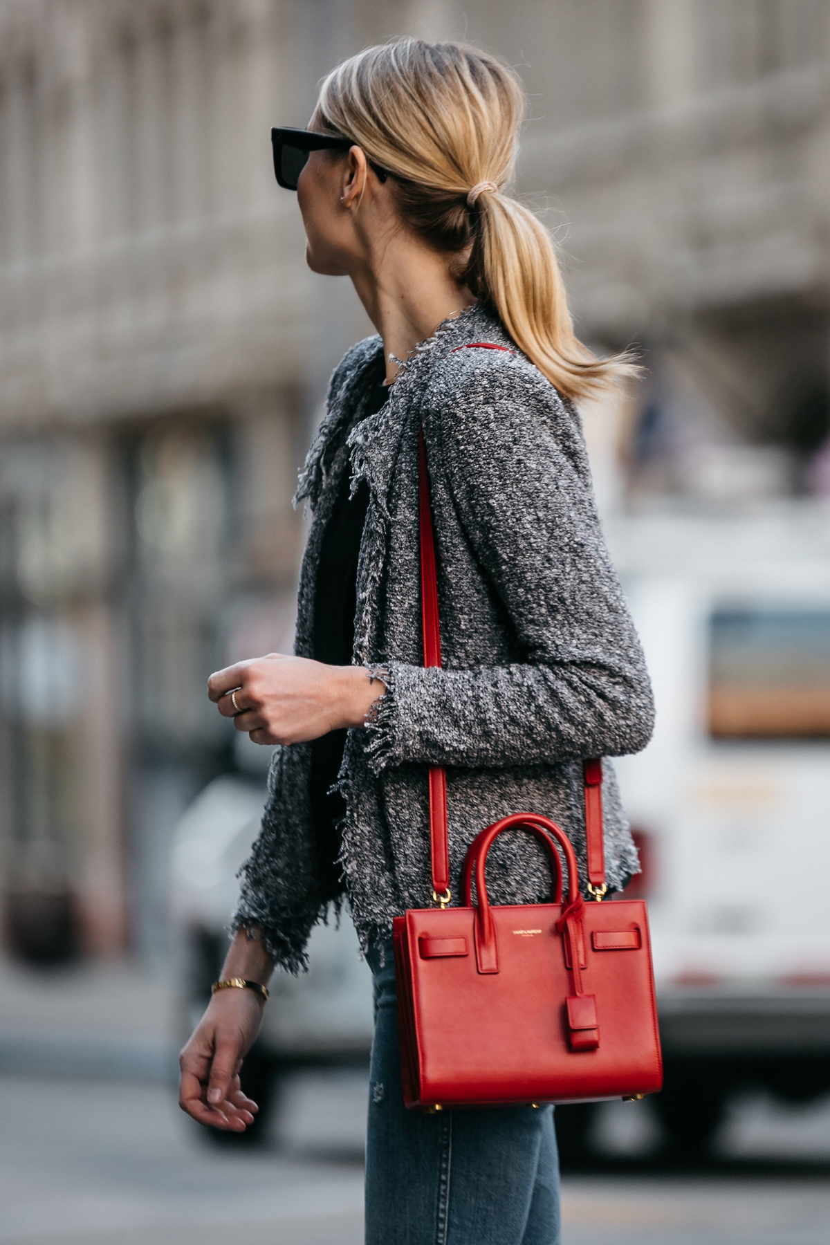 Blonde Woman Wearing IRO Shavanix Grey Tweed Jacket Denim Saint Laurent Sac De Jour Red Handbag Fashion Jackson Dallas Blogger Fashion Blogger Street Style
