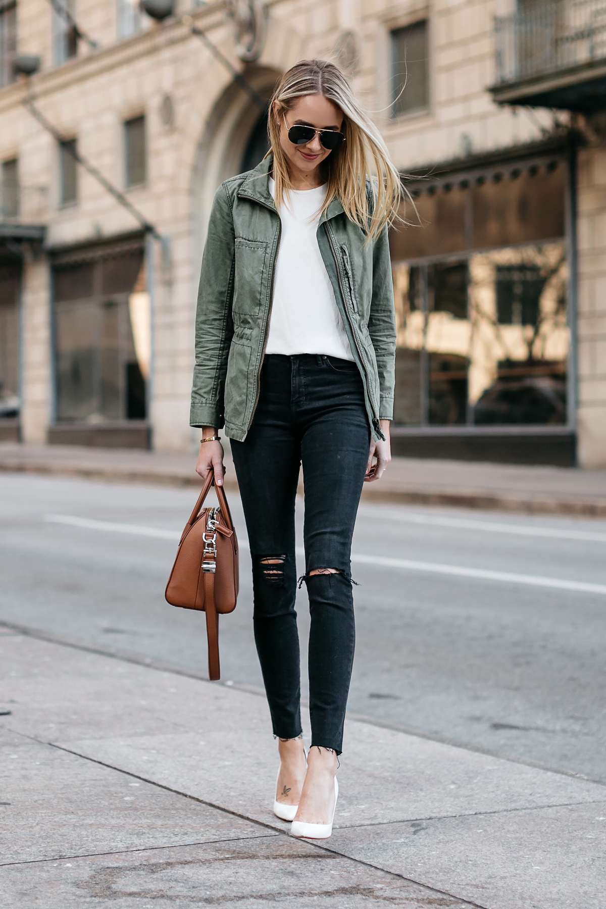 Blonde Woman Wearing Madewell Fleet Jacket Green Jacket White Tank Madewell Black Ripped Skinny Jeans Christian Louboutin White Pumps Givenchy Antigona Small Satchel Cognac Celine Aviator Sunglasses Fashion Jackson Dallas Blogger Fashion Blogger Street Style