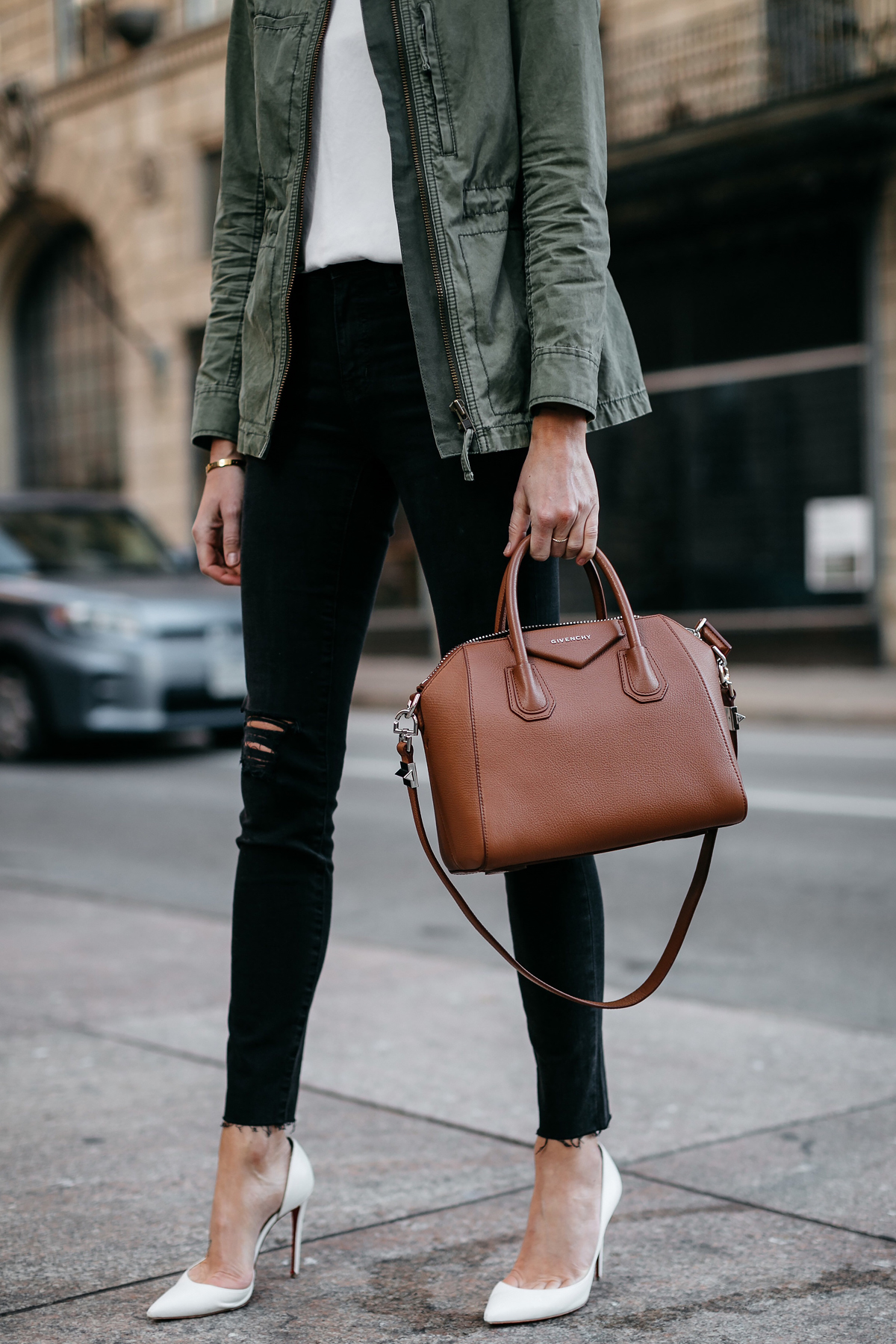 Woman Wearing Madewell Fleet Jacket Green Jacket White Tank Madewell Black Ripped Skinny Jeans Christian Louboutin White Pumps Givenchy Antigona Small Satchel Cognac Fashion Jackson Dallas Blogger Fashion Blogger Street Style