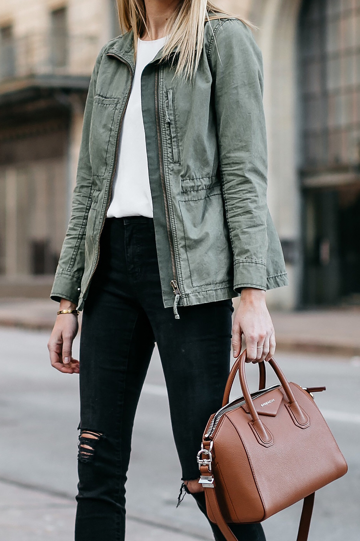 Woman Wearing Madewell Fleet Jacket Green Jacket White Tank Madewell Black Ripped Skinny Jeans Givenchy Antigona Small Satchel Cognac Fashion Jackson Dallas Blogger Fashion Blogger Street Style