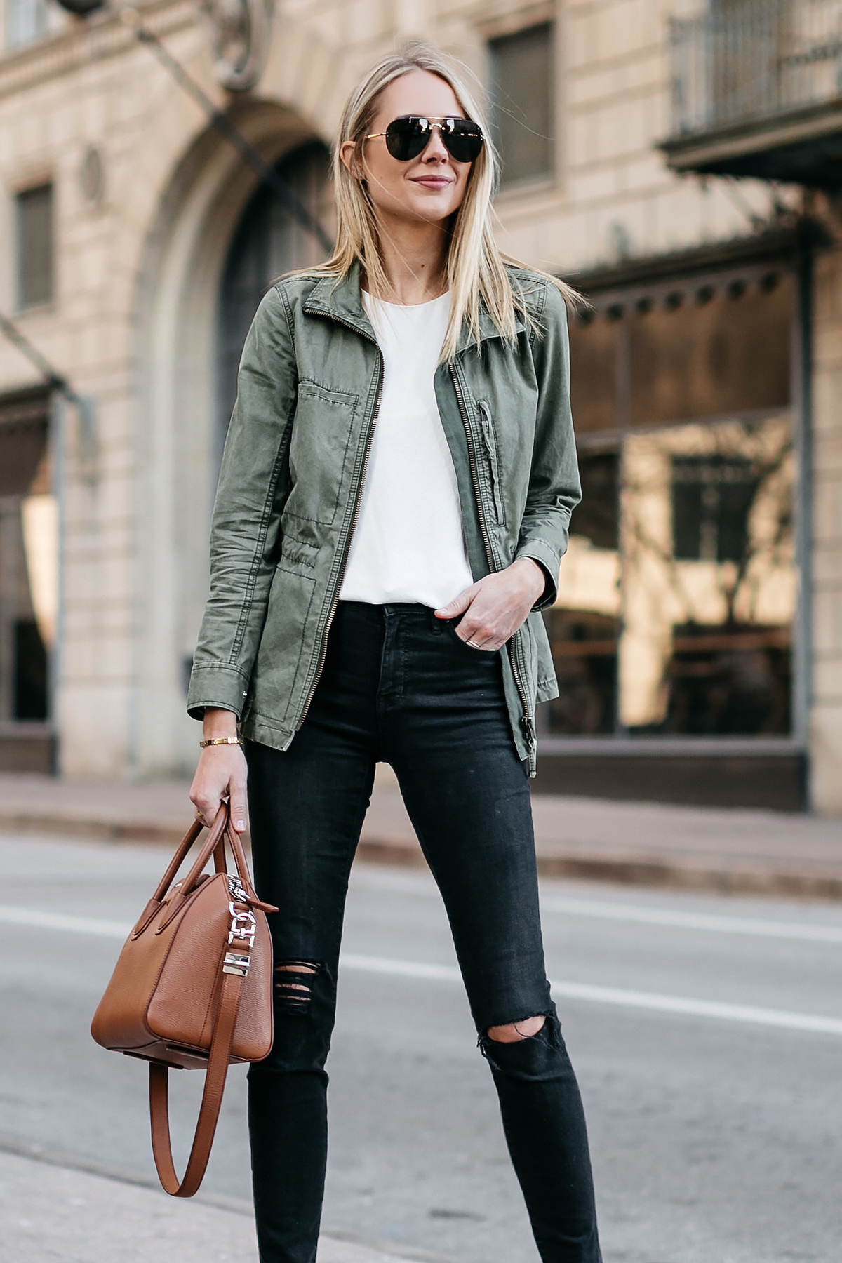Blonde Woman Wearing Madewell Fleet Jacket Green Jacket White Tank Madewell Black Ripped Skinny Jeans Givenchy Antigona Small Satchel Cognac Celine Aviator Sunglasses Fashion Jackson Dallas Blogger Fashion Blogger Street Style