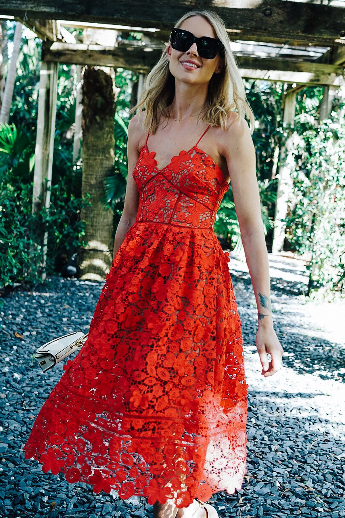 Blonde Woman Wearing Self Portrait Azaelea Red Lace Midi Dress Fashion Jackson Dallas Blogger Fashion Blogger
