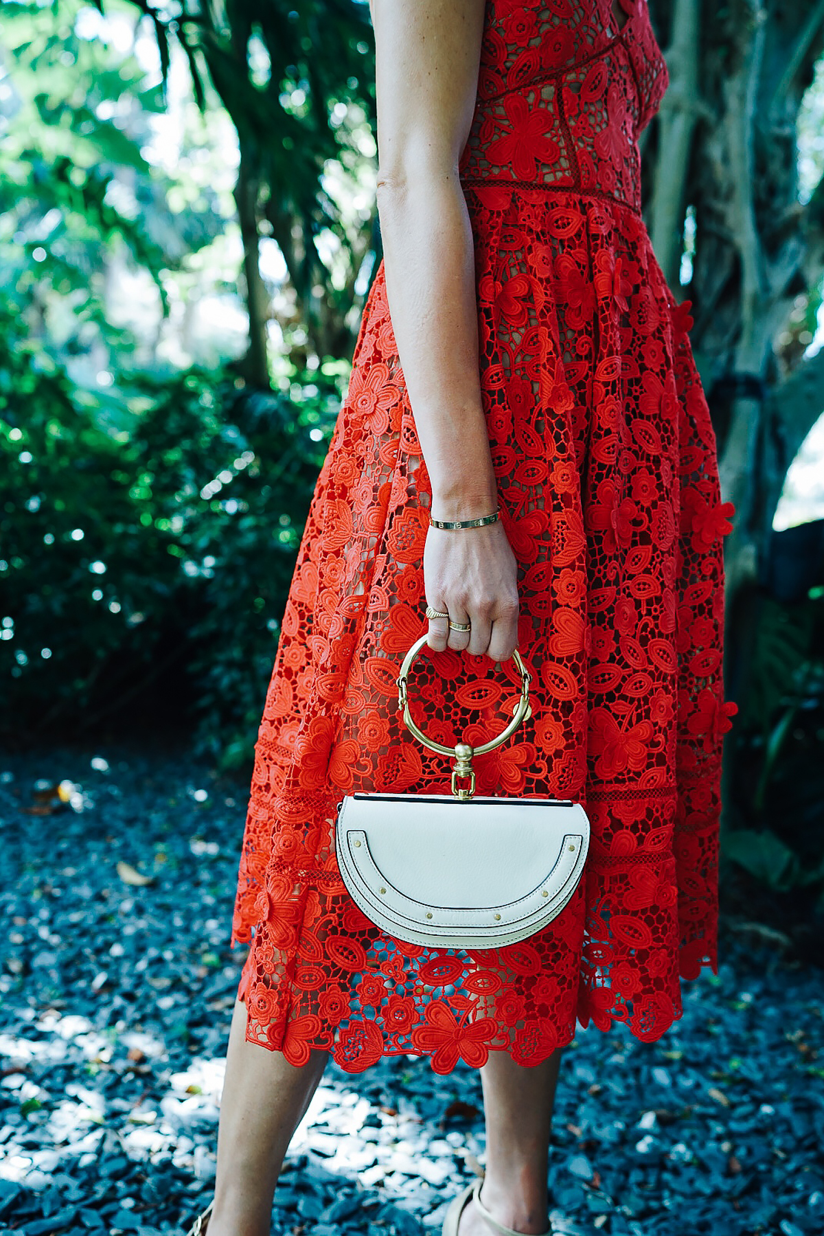 Woman Wearing Self Portrait Azaelea Red Lace Midi Dress Chloe White Nile Handbag Fashion Jackson Dallas Blogger Fashion Blogger