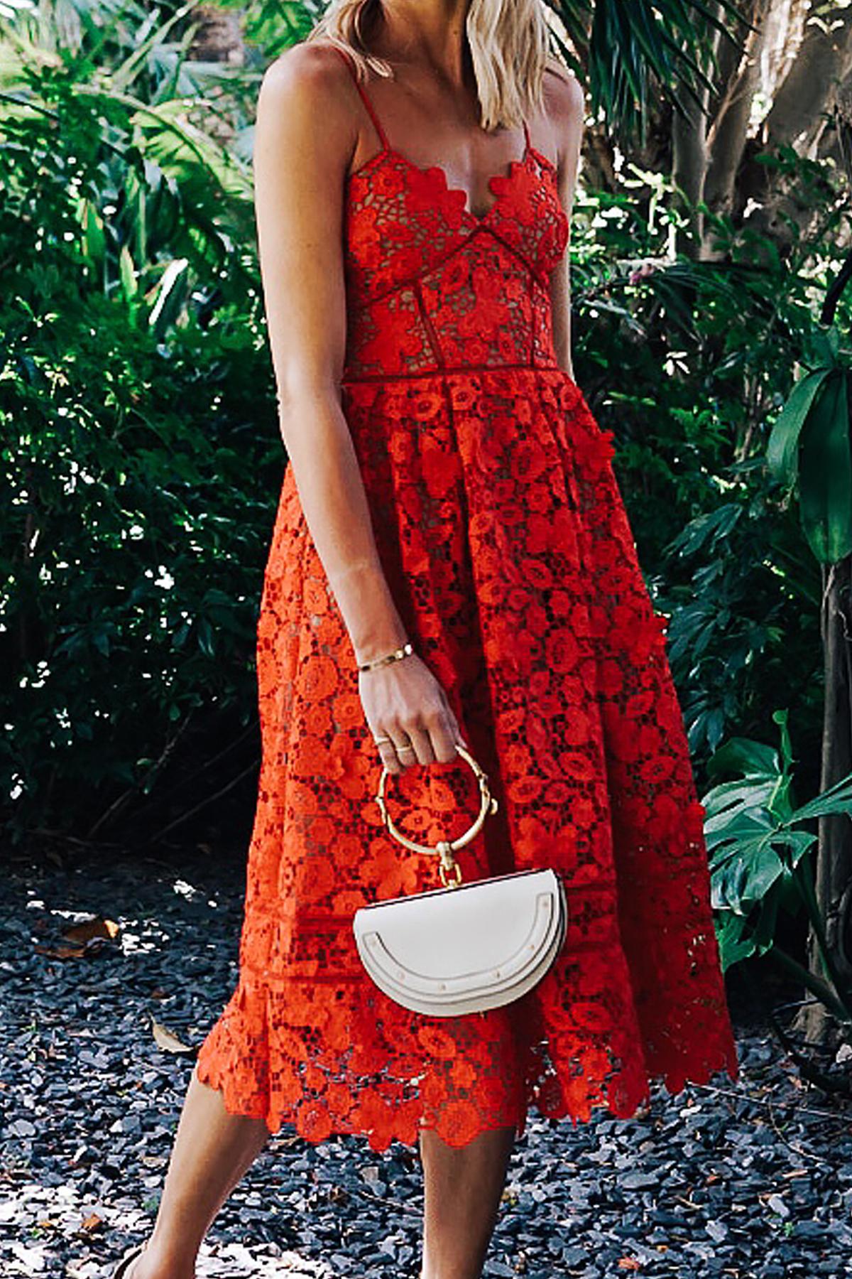 Woman Wearing Self Portrait Azaelea Red Lace Midi Dress Chloe White Nile Handbag Fashion Jackson Dallas Blogger Fashion Blogger