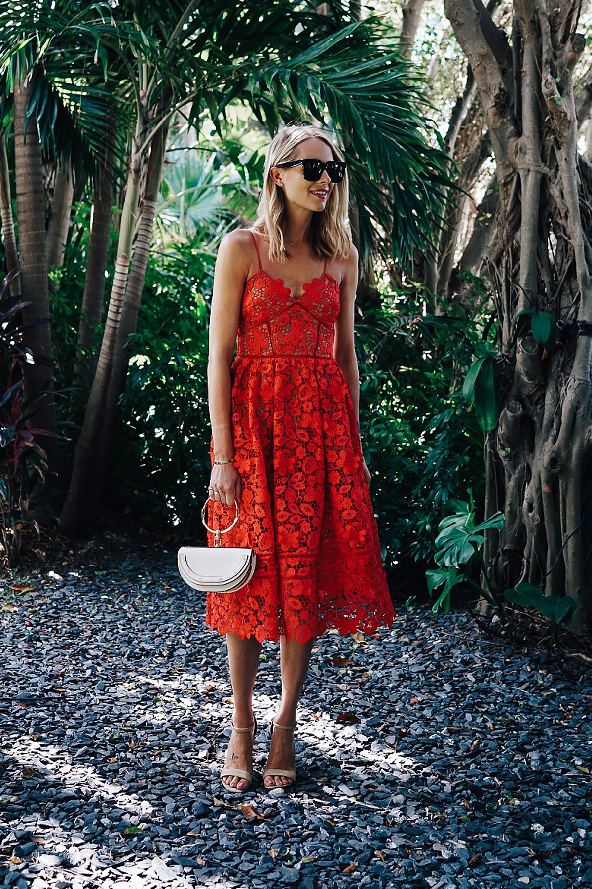 08034cc79 Blonde Woman Wearing Self Portrait Azaelea Red Lace Midi Dress Chloe White  Nile Handbag Fashion Jackson