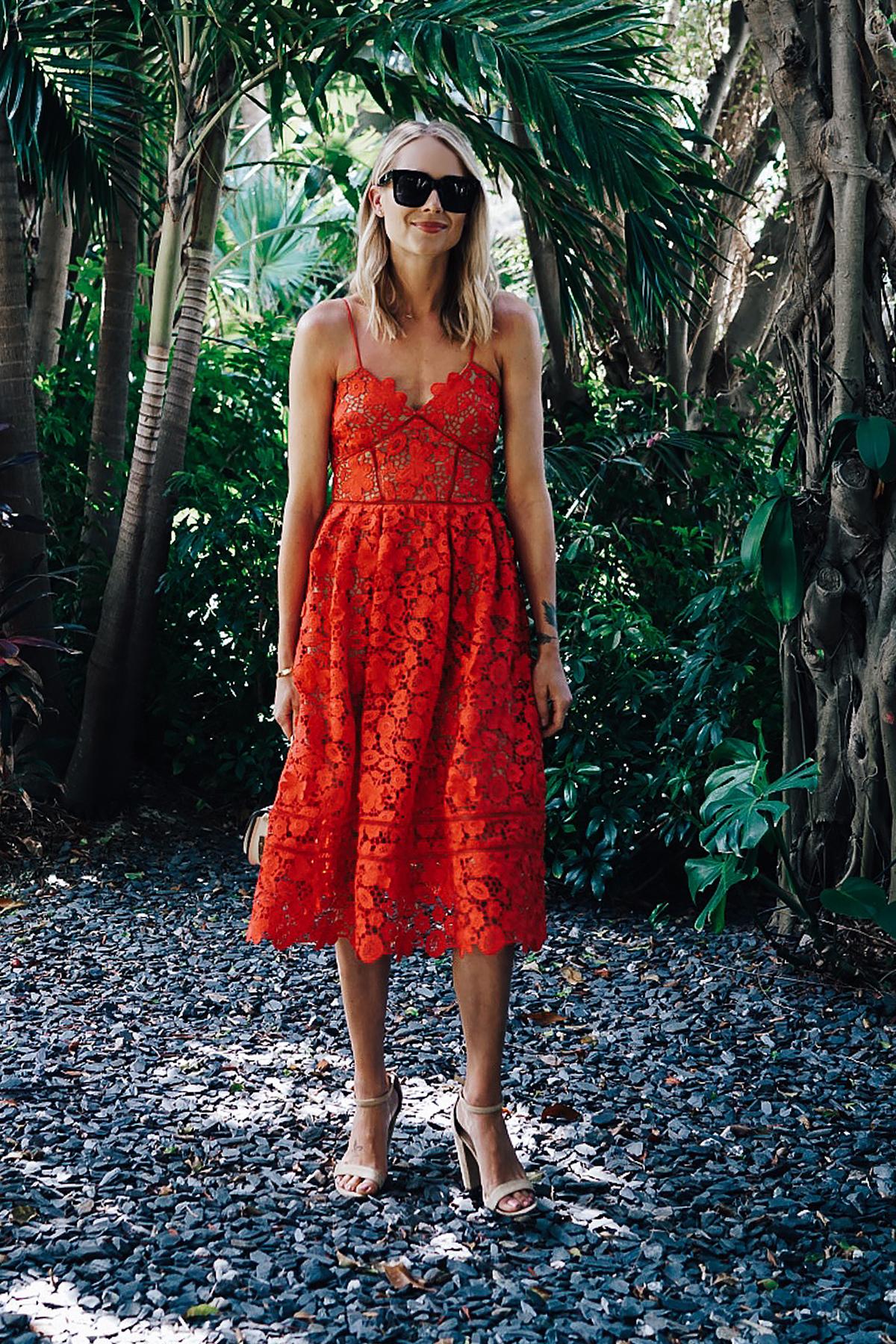 Blonde Woman Wearing Self Portrait Azaelea Red Lace Midi Dress Tan Ankle Strap Heeled Sandals Fashion Jackson Dallas Blogger Fashion Blogger