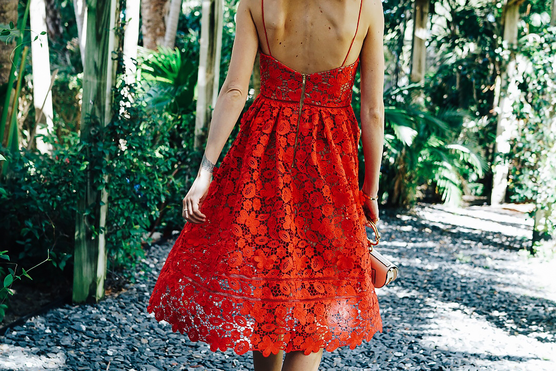 Woman Wearing Self Portrait Azaelea Red Lace Midi Dress Fashion Jackson Dallas Blogger Fashion Blogger