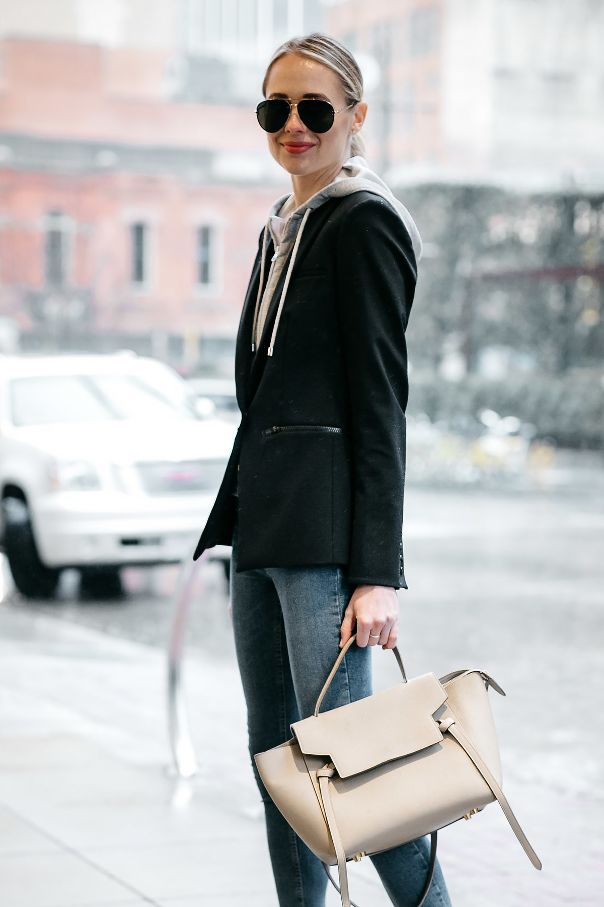 Blonde Woman Wearing Veronica Beard Scuba Jacket Celine Mini Belt Bag Fashion Jackson Dallas Blogger Fashion Blogger Street Style