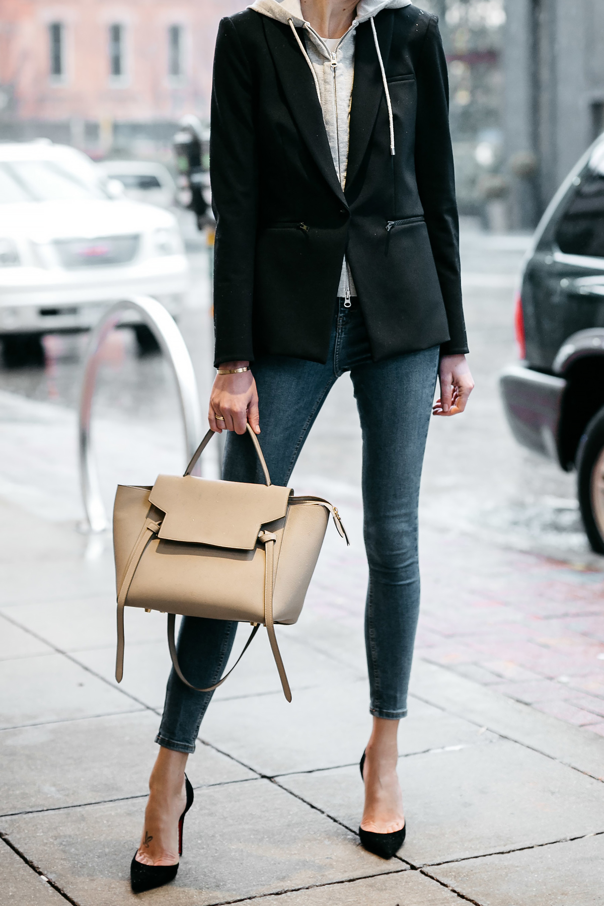 Woman Wearing Veronica Beard Scuba Jacket Topshop Skinny Jeans Black Christian Louboutin Pumps Celine Mini Belt Bag Fashion Jackson Dallas Blogger Fashion Blogger Street Style