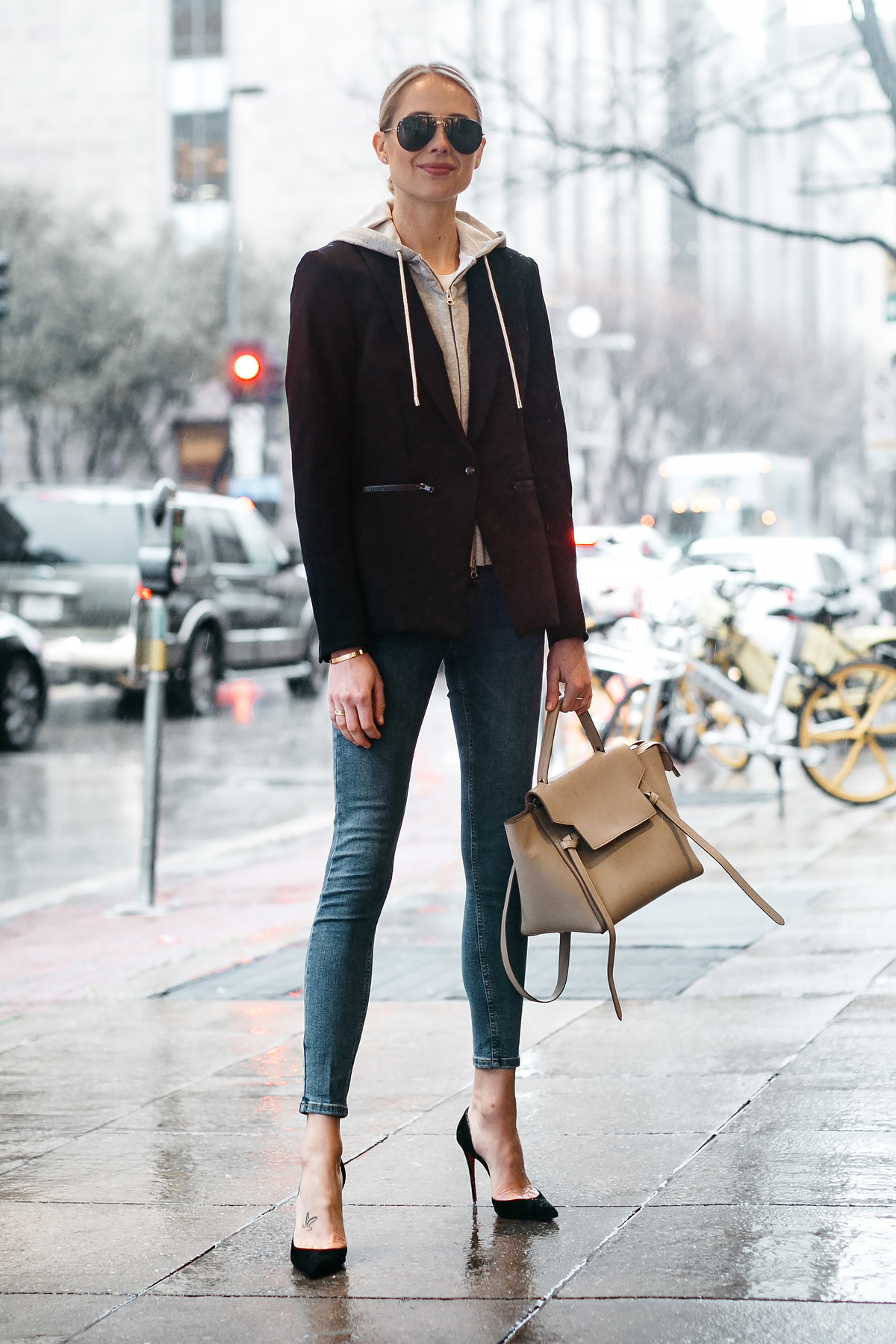 Blonde Woman Wearing Veronica Beard Scuba Jacket Topshop Skinny Jeans Black Christian Louboutin Pumps Celine Mini Belt Bag Fashion Jackson Dallas Blogger Fashion Blogger Street Style