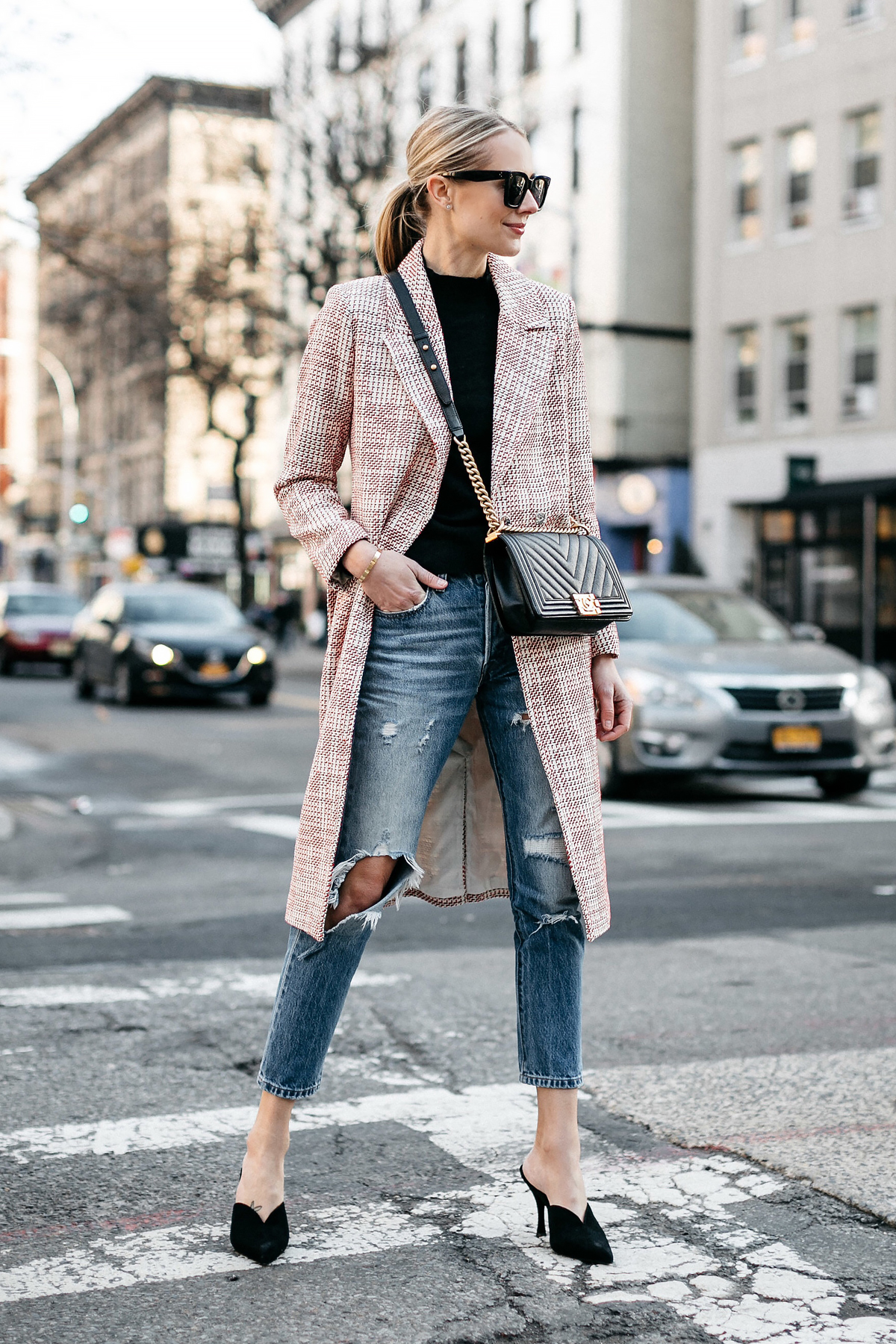 Blonde Woman Wearing HM Tweed Coat Black Sweater Levis Ripped Jeans Black Pumps Chanel Black Chevron Boy Bag Fashion Jackson Dallas Blogger Fashion Blogger Street Style NYFW
