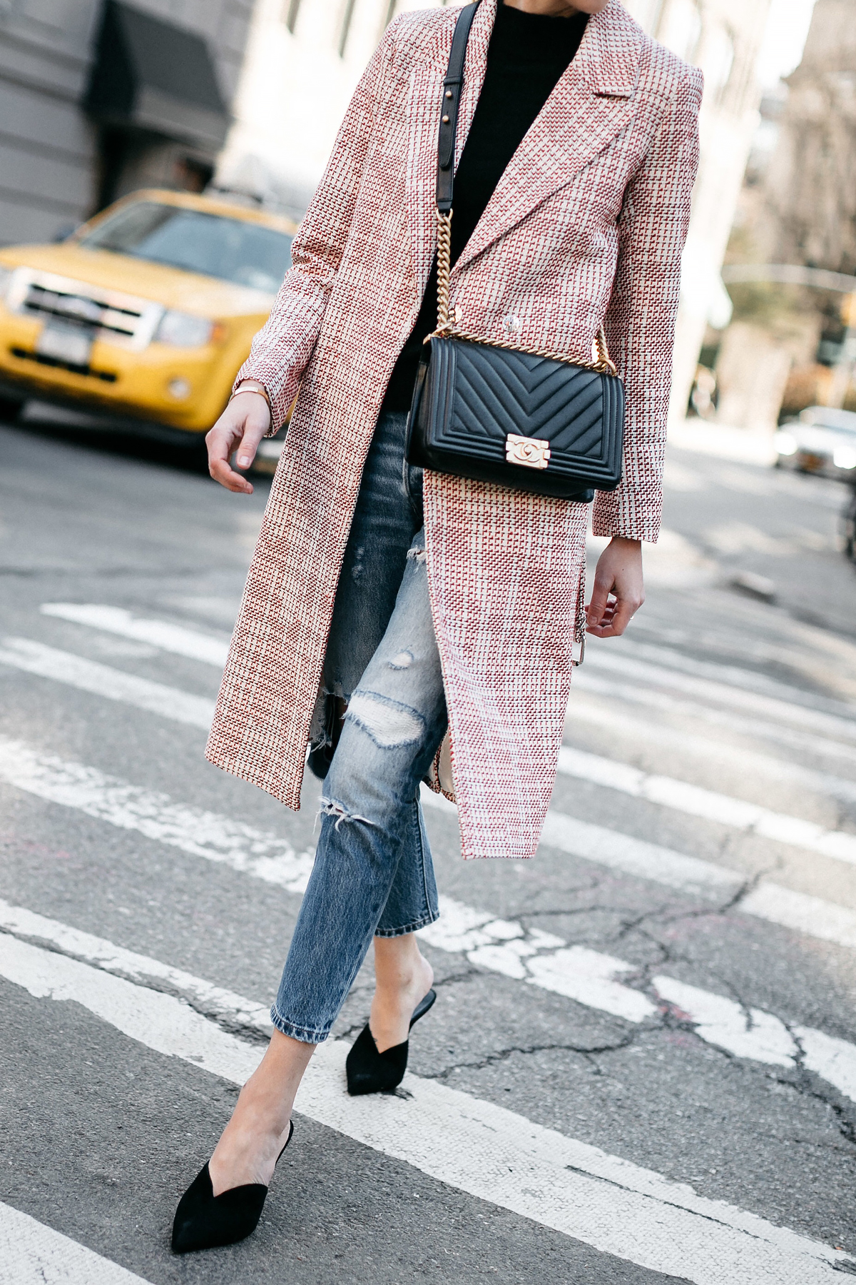 Woman Wearing HM Tweed Coat Black Sweater Levis Ripped Jeans Black Pumps Chanel Black Chevron Boy Bag Fashion Jackson Dallas Blogger Fashion Blogger Street Style NYFW