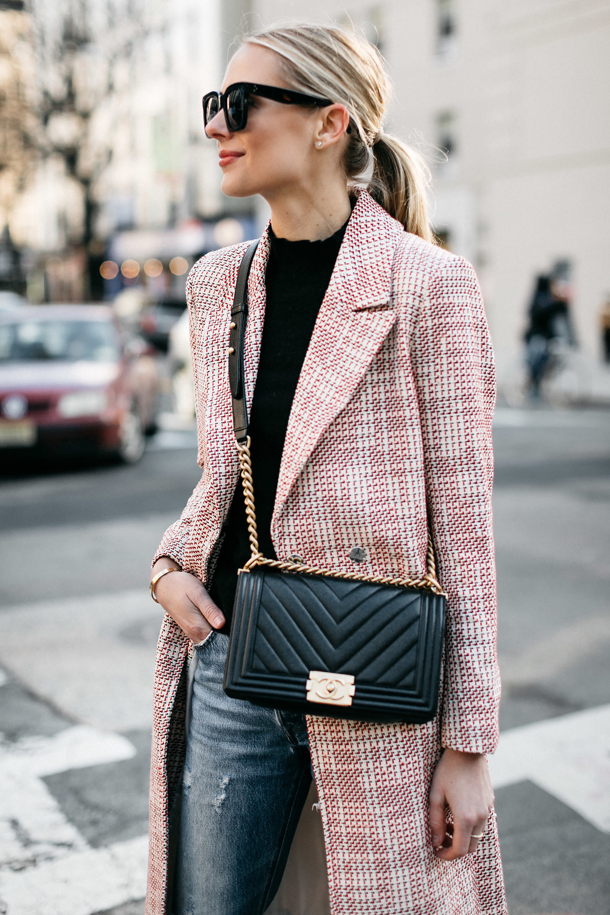 Blonde Woman Wearing HM Tweed Coat Ripped Jeans Chanel Black Chevron Boy Bag Fashion Jackson Dallas Blogger Fashion Blogger Street Style NYFW