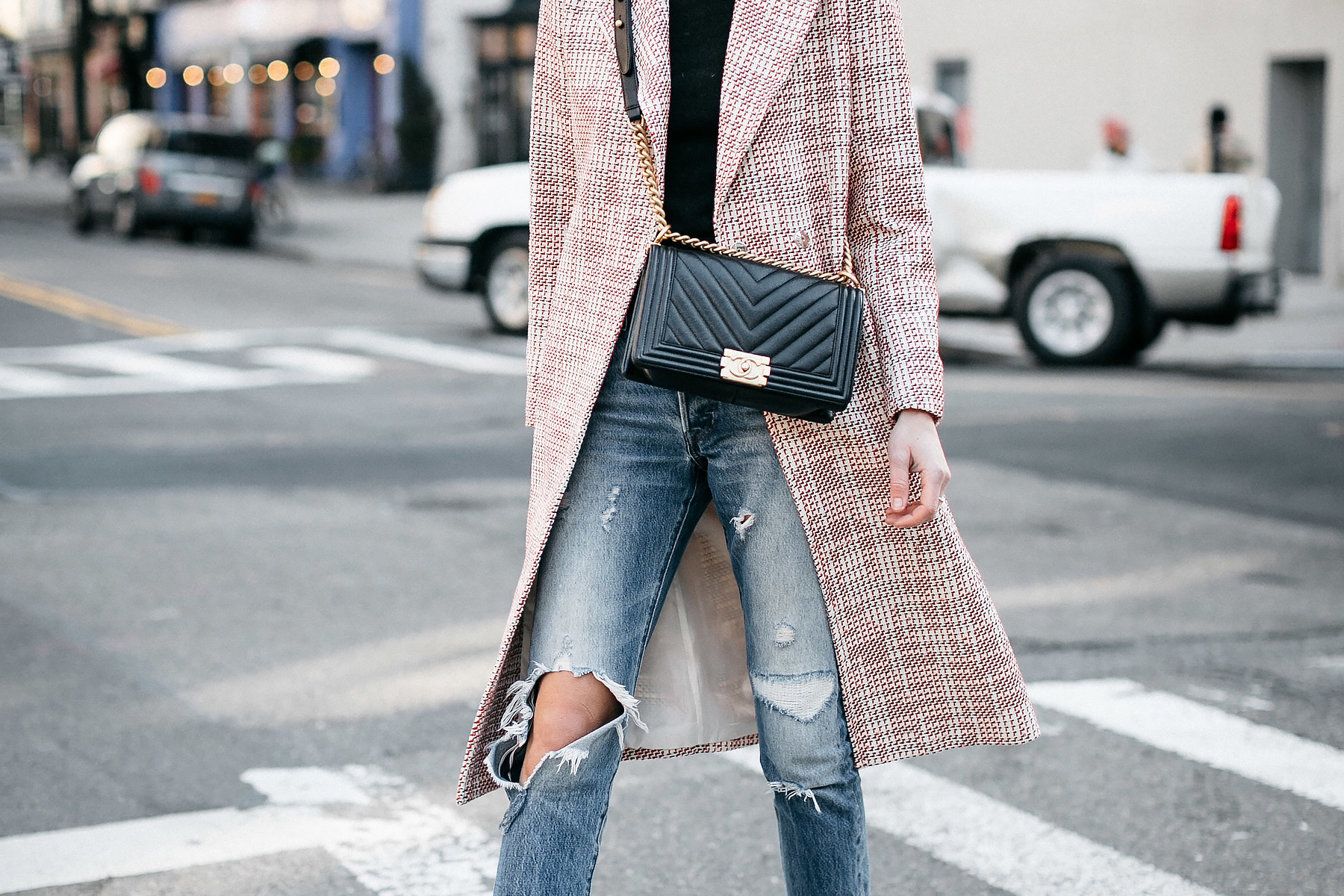 Woman Wearing HM Tweed Coat Ripped Jeans Chanel Black Chevron Boy Bag Fashion Jackson Dallas Blogger Fashion Blogger Street Style NYFW