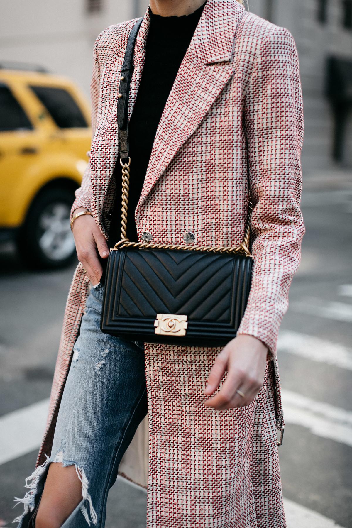 Woman Wearing HM Tweed Coat Ripped Jeans Chanel Black Chevron Boy Bag Fashion Jackson Dallas Blogger Fashion Blogger Street Style NYFW