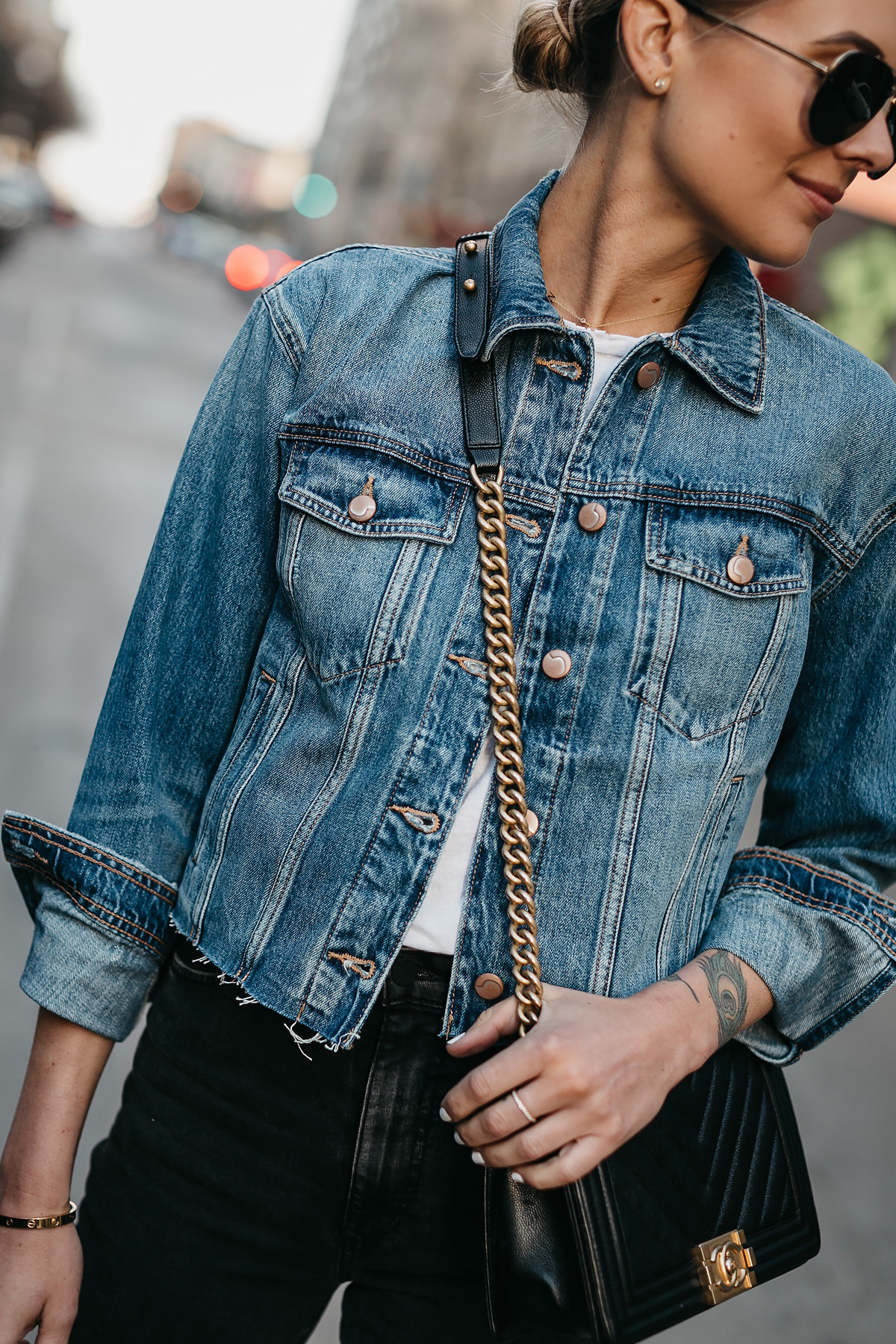 Blonde Woman Wearing Joes Jeans Denim Jacket Chanel Black Boy Bag Celine Aviator Sunglasses Fashion Jackson Dallas Blogger Fashion Blogger Street Style