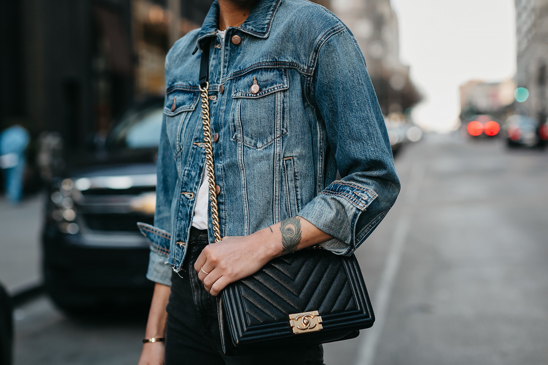 Woman Wearing Joes Jeans Denim Jacket Chanel Black Boy Bag Fashion Jackson Dallas Blogger Fashion Blogger Street Style
