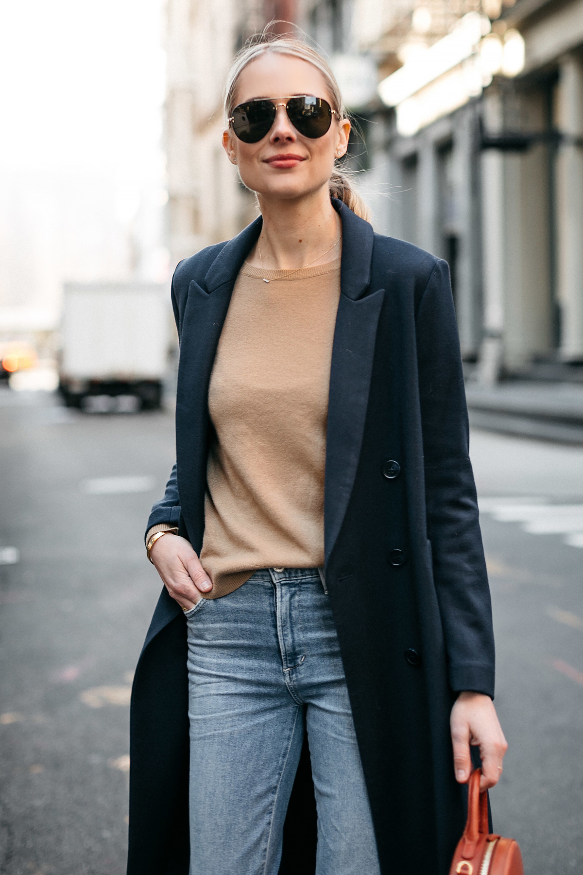 Blonde Woman Wearing Navy Coat Camel Sweater Jeans Celine Aviator Sunglasses Fashion Jackson Dallas Blogger Fashion Blogger Street Style NYFW