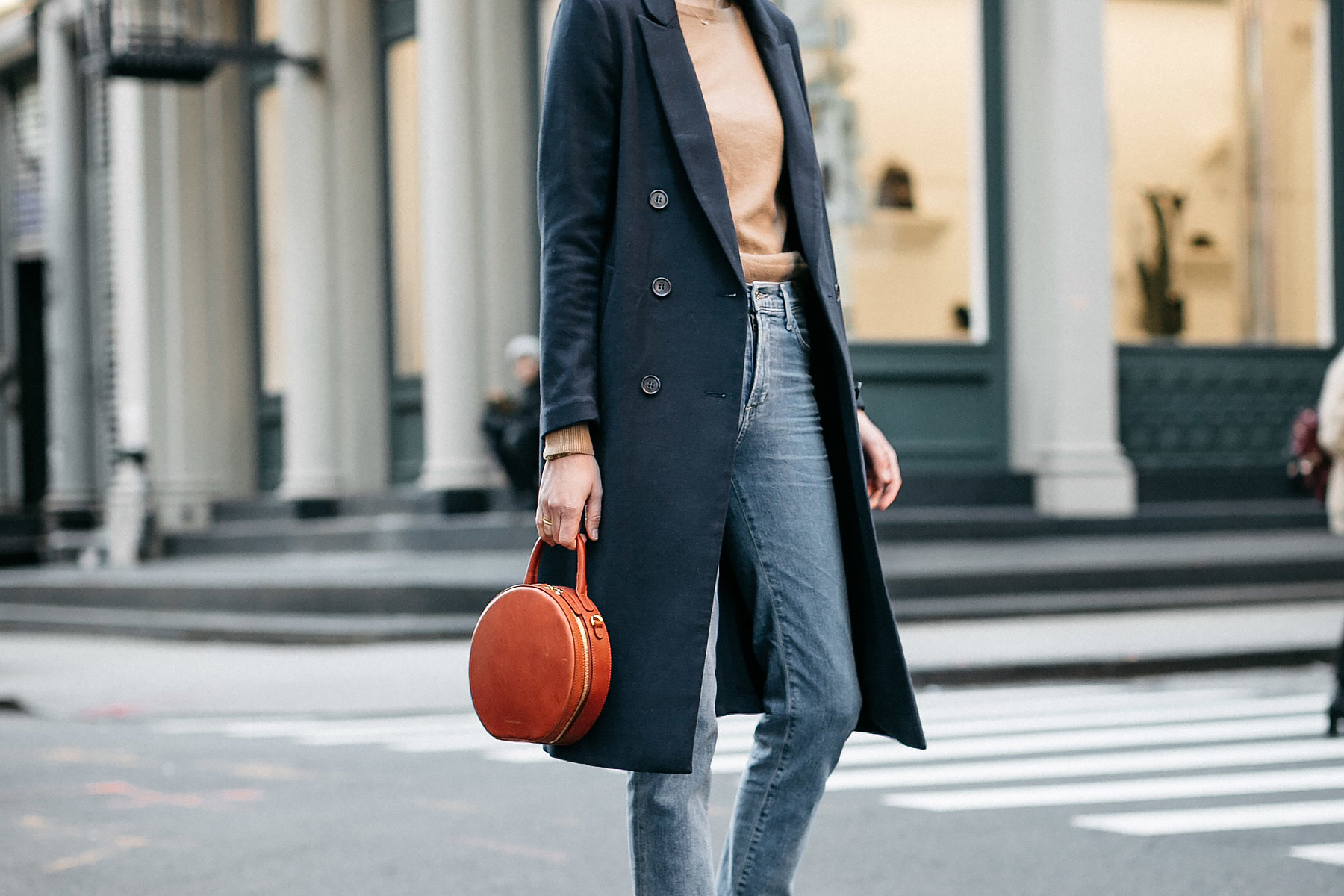 Woman Wearing Navy Wool Coat Camel Sweater Relaxed Denim Jeans Mansur Gavriel Circle Handbag Fashion Jackson Dallas Blogger Fashion Blogger Street Style NYFW