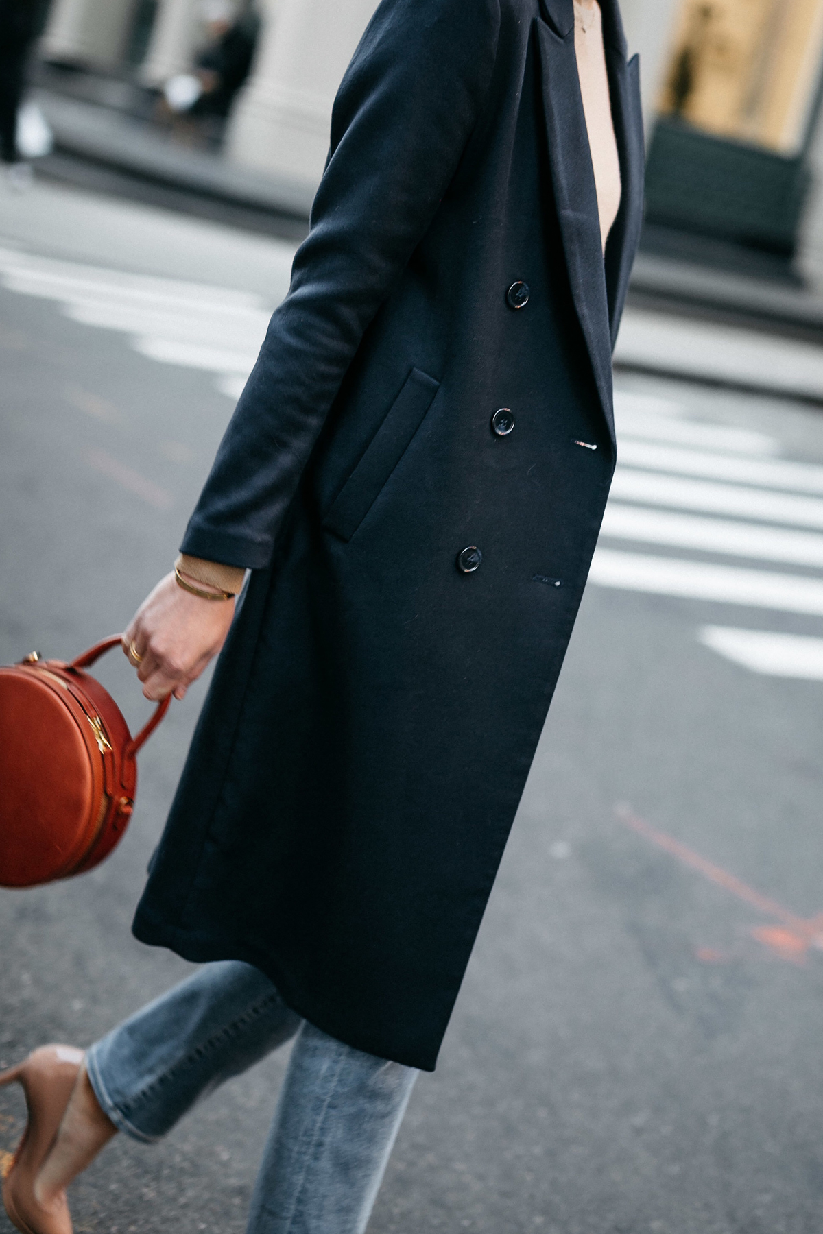 Woman Wearing Navy Wool Coat Denim Jeans Mansur Gavriel Circle Handbag Fashion Jackson Dallas Blogger Fashion Blogger Street Style NYFW