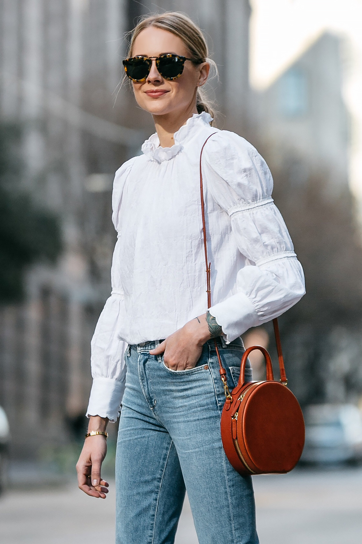 Blonde Woman Wearing Rebecca Taylor White Ruffle Top Denim Jeans Mansur Gavriel Circle Bag Fashion Jackson Dallas Blogger Fashion Blogger Street Style