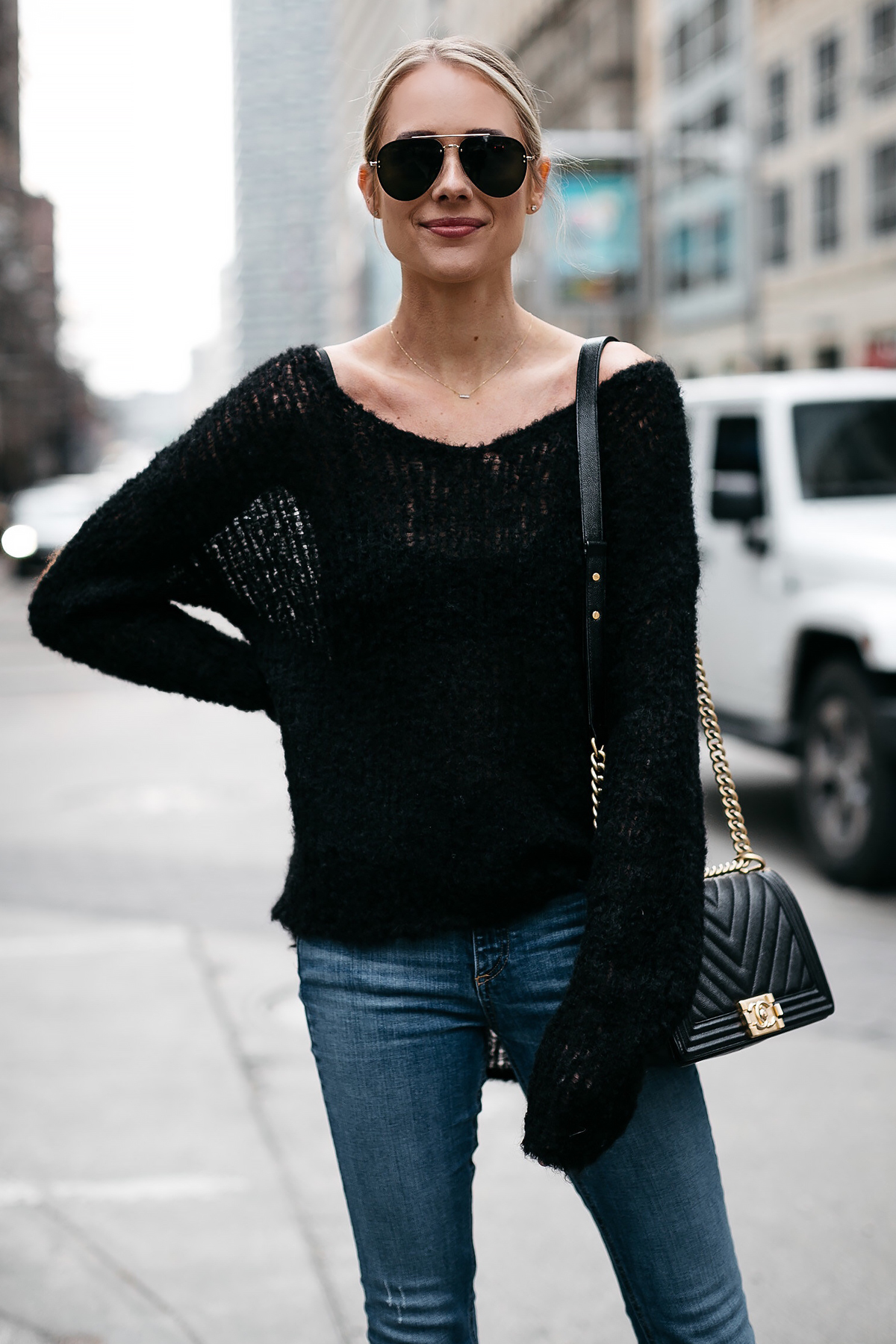 Blonde Woman Wearing rag and bone Black Sweater Denim Skinny Jeans Fashion Jackson Dallas Blogger Fashion Blogger Street Style