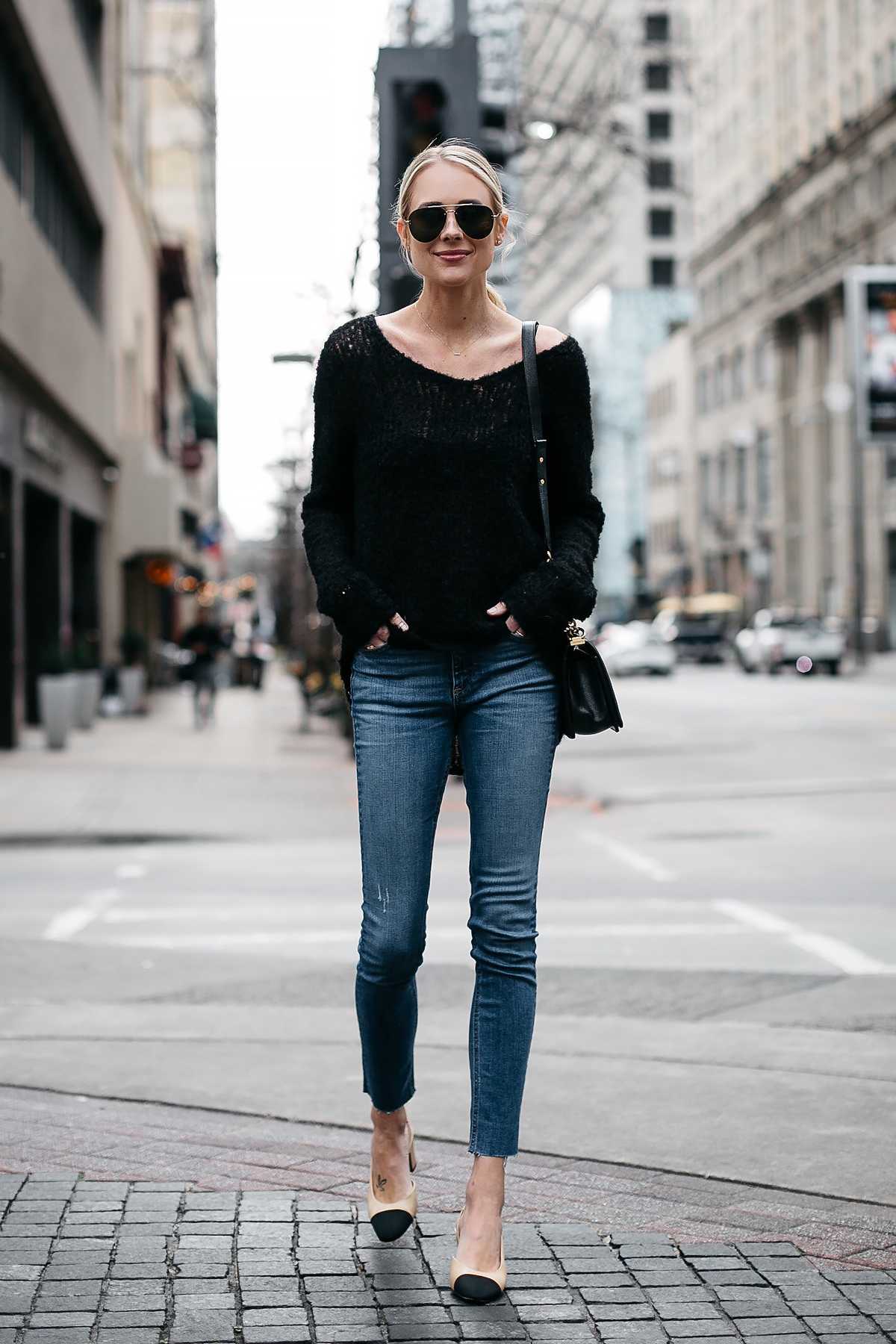 Blonde Woman Wearing rag and bone Black Sweater Denim Skinny Jeans Chanel Slingbacks Fashion Jackson Dallas Blogger Fashion Blogger Street Style