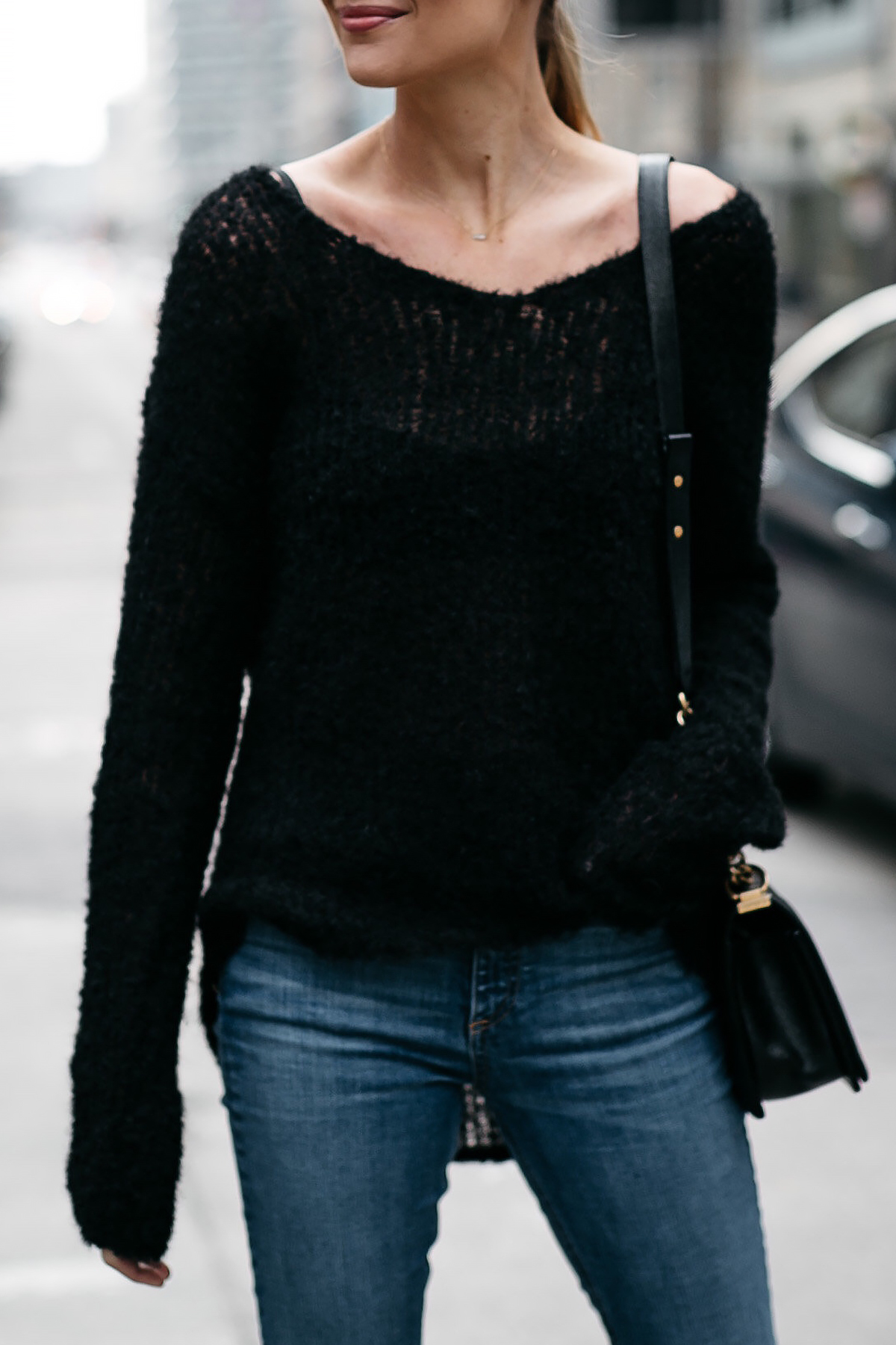 Woman Wearing rag and bone Black Sweater Denim Skinny Jeans Fashion Jackson Dallas Blogger Fashion Blogger Street Style