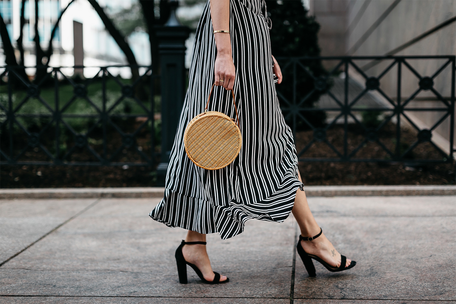 Woman Wearing AQUA Black White Stripe Maxi Dress Circle Straw Basket Handbag Black Ankle Strap Heeled Sandals Fashion Jackson Dallas Blogger Fashion Blogger Street Style