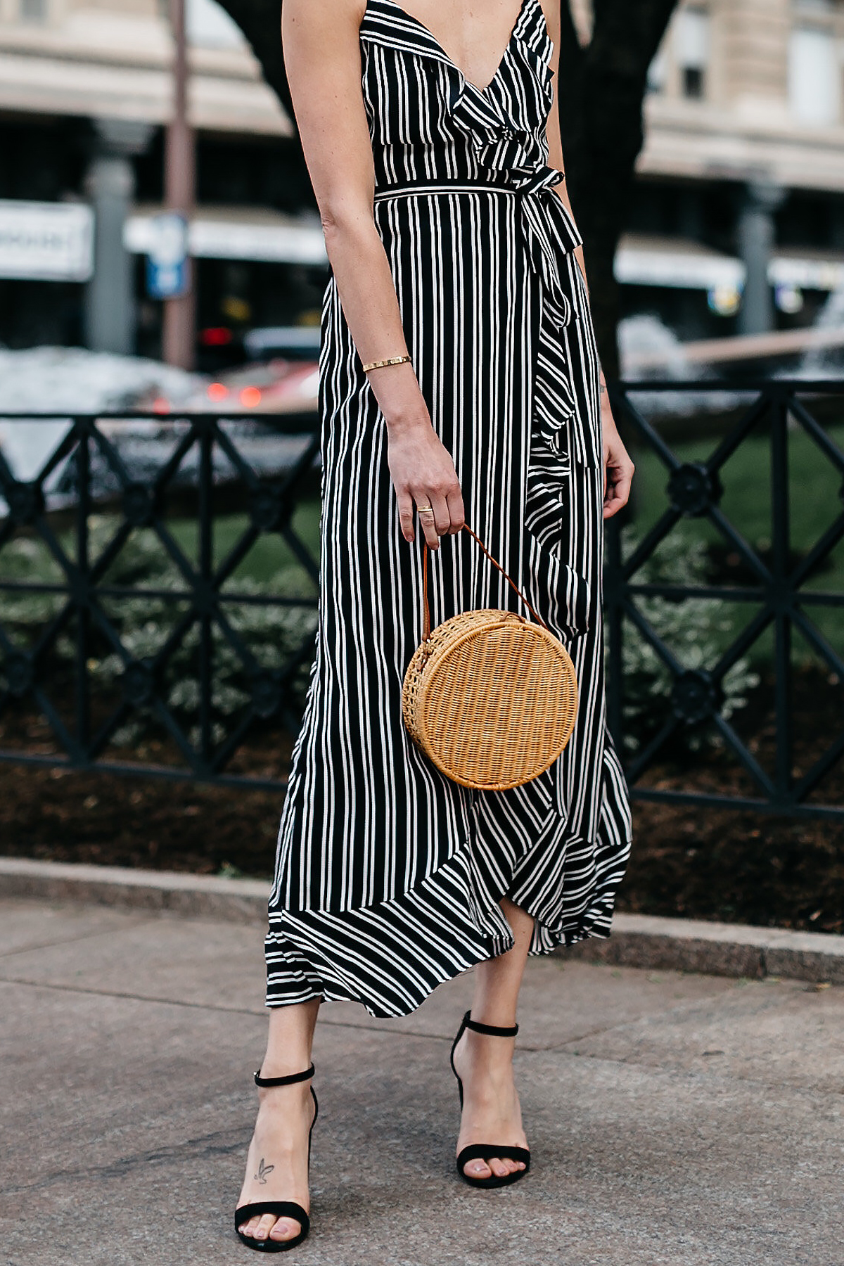 Woman Wearing AQUA Black White Stripe Maxi Dress Circle Straw Basket Handbag Black Ankle Strap Heeled Sandals Fashion Jackson Dallas Blogger Fashion Blogger Street Stye
