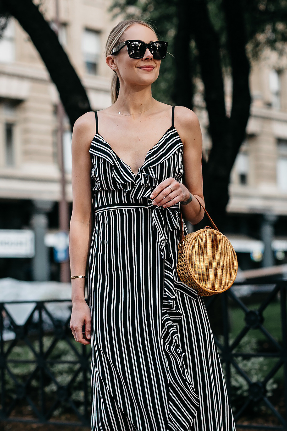 Blonde Woman Wearing AQUA Black White Stripe Maxi Dress Circle Straw Basket Handbag Fashion Jackson Dallas Blogger Fashion Blogger Street Style