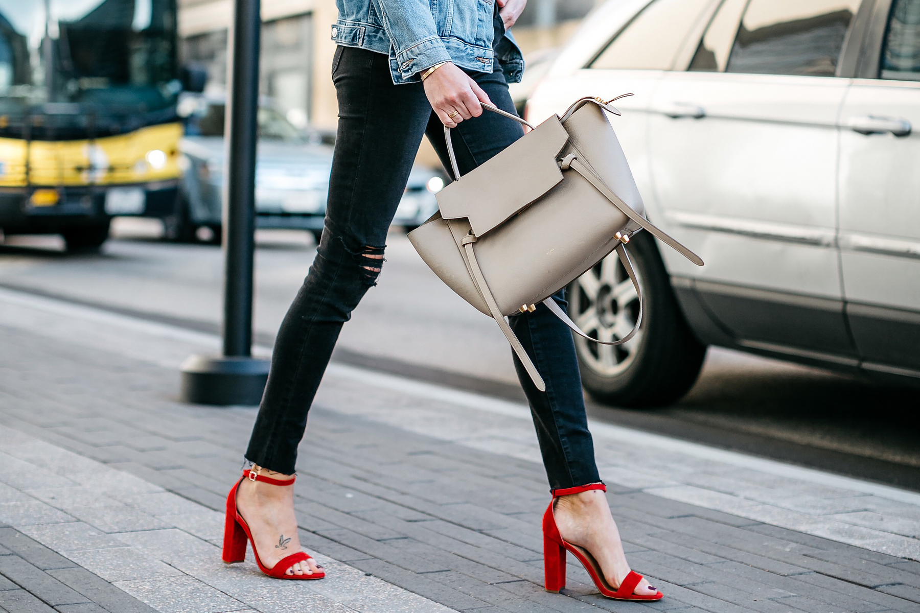 Woman Wearing Black Ripped Skinny Jeans Celine MIni Belt Bag Red Ankle Strap Heeled Sandals Fashion Jackson Dallas Blogger Fashion Blogger Street Style