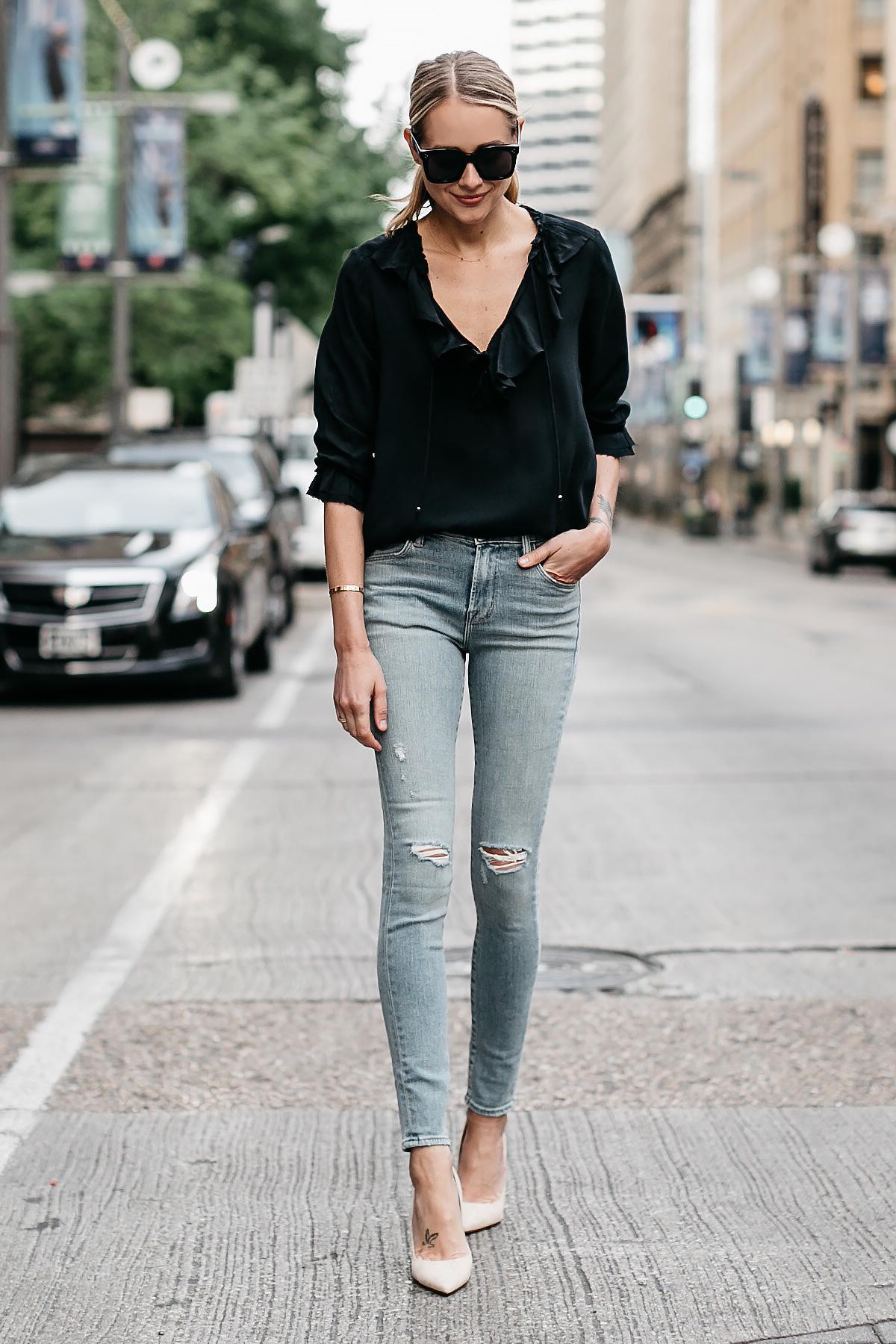 Blonde Woman Wearing Black Ruffle Top Denim Ripped Skinny Jeans Nude Pumps Fashion Jackson Dallas Blogger Fashion Blogger Street Style