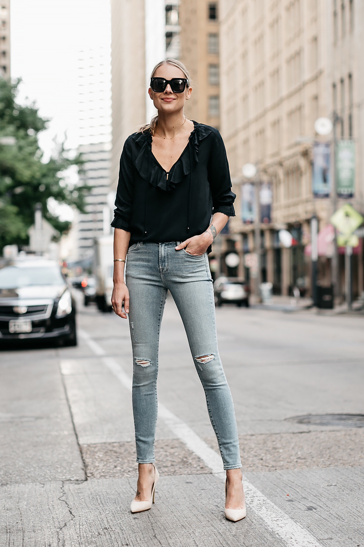 Blonde Woman Wearing Black Ruffle Top Denim Ripped Skinny Jeans Nude Pumps Fashion Jackson Dallas Blogger Fashion Blogger Street Style