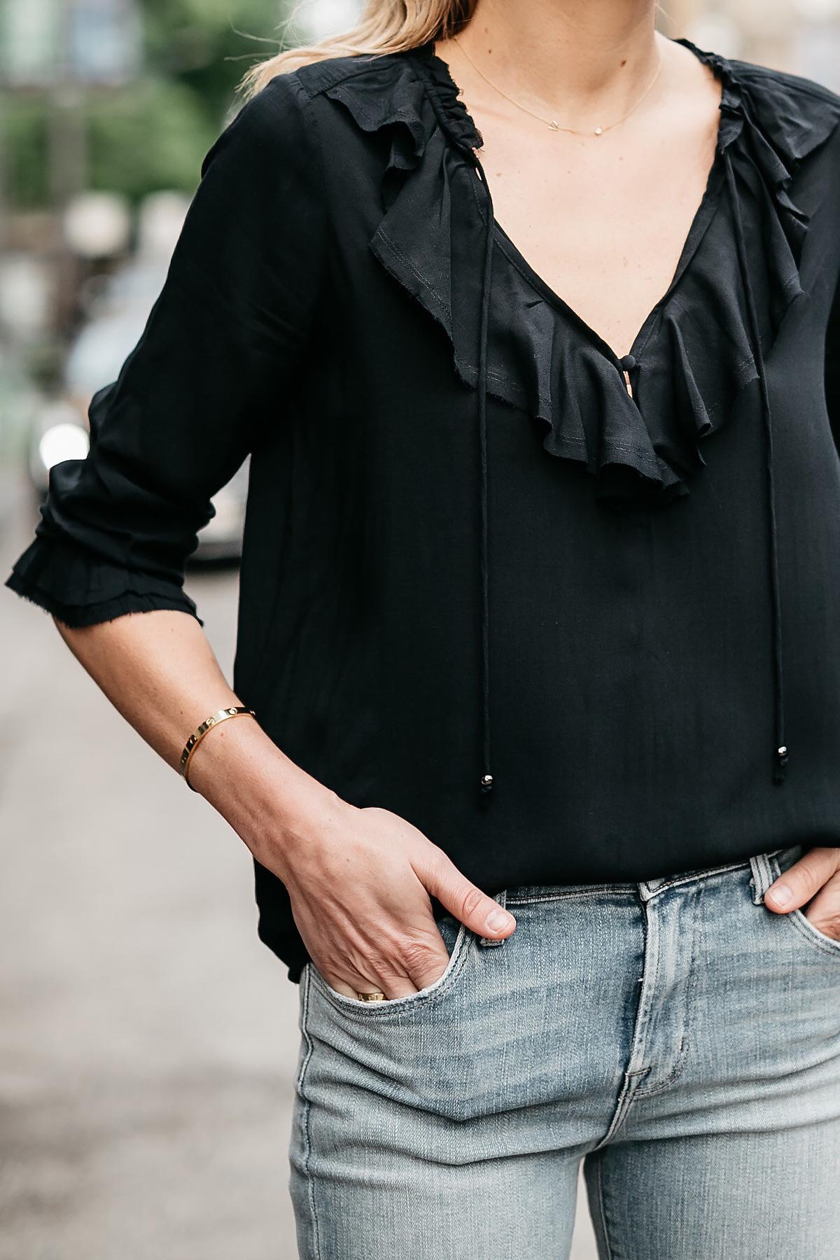 Woman Wearing Black Ruffle Top Fashion Jackson Dallas Blogger Fashion Blogger Street Style