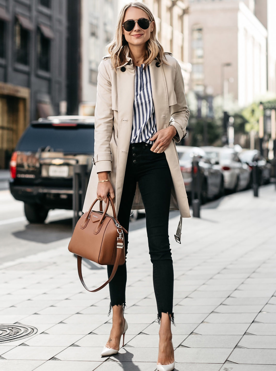 Blonde Woman Wearing Club Monaco Trench Coat Blue White Stripe Shirt Madewell Black Ripped Skinny Jeans Christian Louboutin White Pumps Givenchy Antigona Cognac Satchel Celine Aviator Sunglasses Fashion Jackson Dallas Blogger Fashion Blogger Street Style