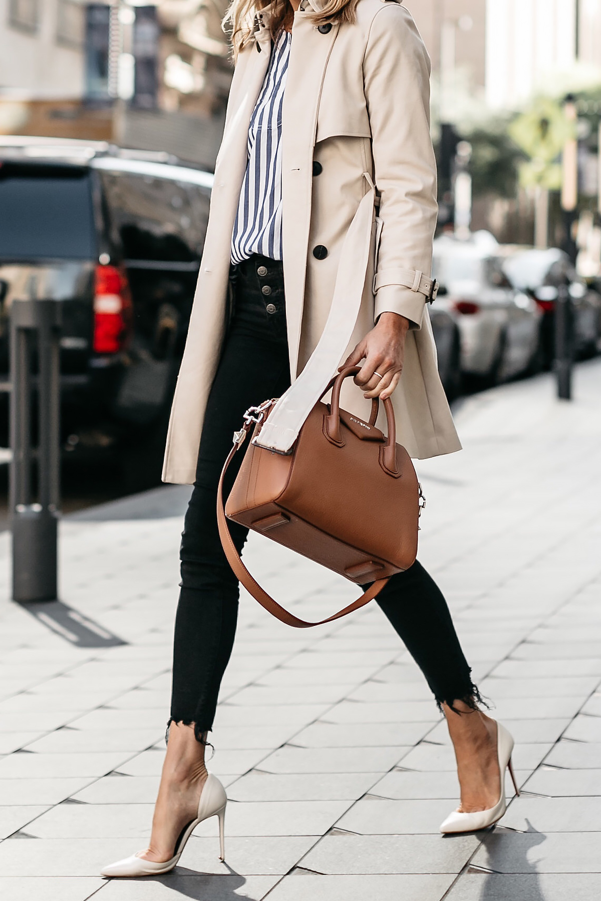 Woman Wearing Club Monaco Trench Coat Jcrew Blue White Stripe Top Madewell Black Ripped Skinny Jeans Christian Louboutin White Pumps Givenchy Antigona Small Cognac Satchel Fashion Jackson Dallas Blogger Fashion Blogger Street Style