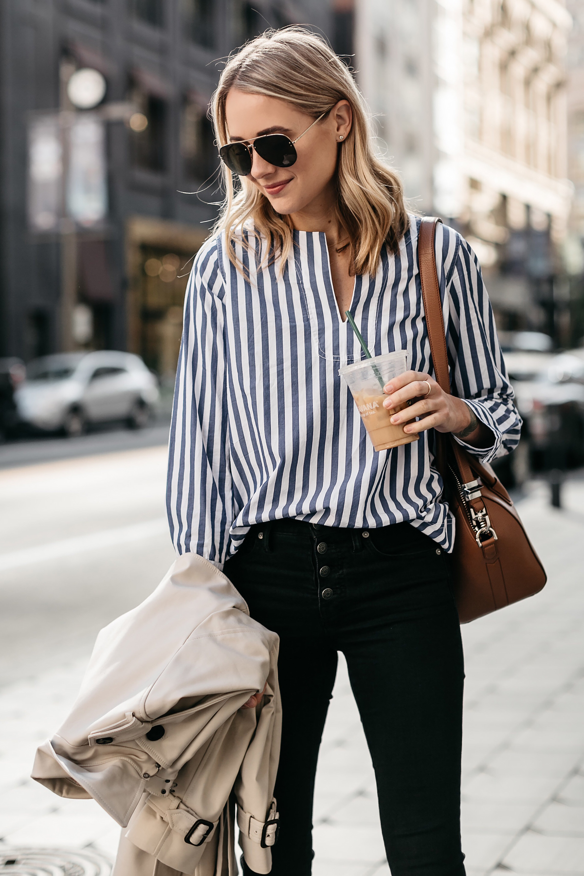 Blonde Woman Wearing Club Monaco Trench Coat Jcrew Blue White Stripe Top Madewell Black Skinny Jeans Givenchy Antigona Small Cognac Satchel Celine Aviator Sunglasses Fashion Jackson Dallas Blogger Fashion Blogger Street Style