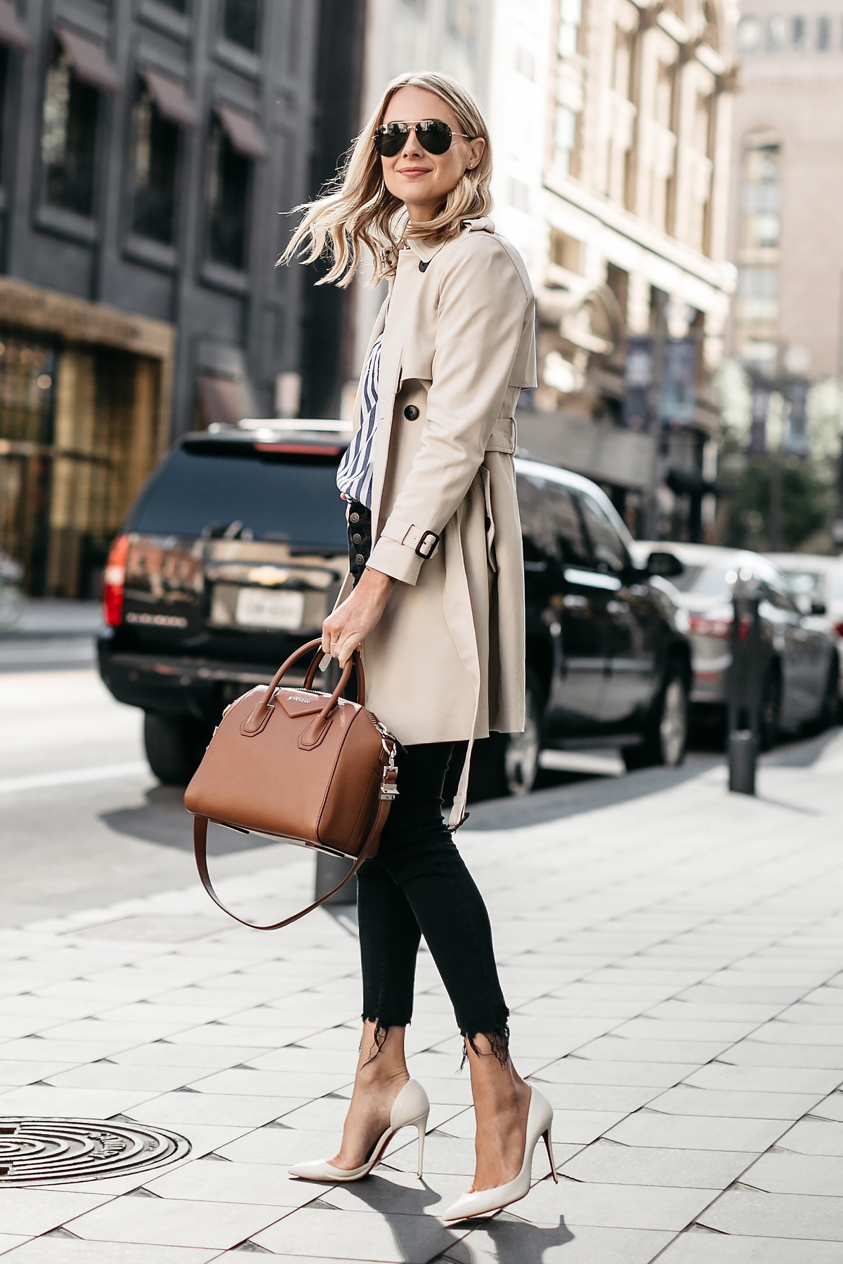 Blonde Woman Wearing Club Monaco Trench Coat Madewell Black Ripped Skinny Jeans Christian Louboutin White Pumps Givenchy Antigona Small Cognac Satchel Celine Aviator Sunglasses Fashion Jackson Dallas Blogger Fashion Blogger Street Style