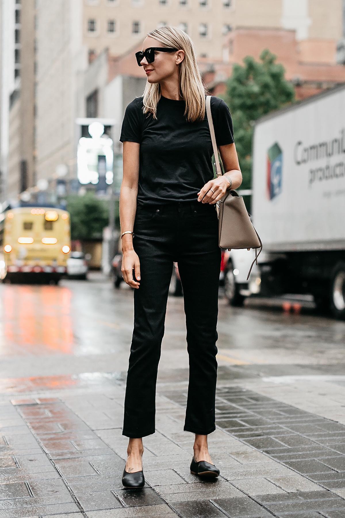 Blonde Woman Wearing Everlane Black Tshirt Everlane Black Boyfriend Jeans Everlane Black Day Glove Flats Fashion Jackson Dallas Blogger Fashion Blogger Street Style