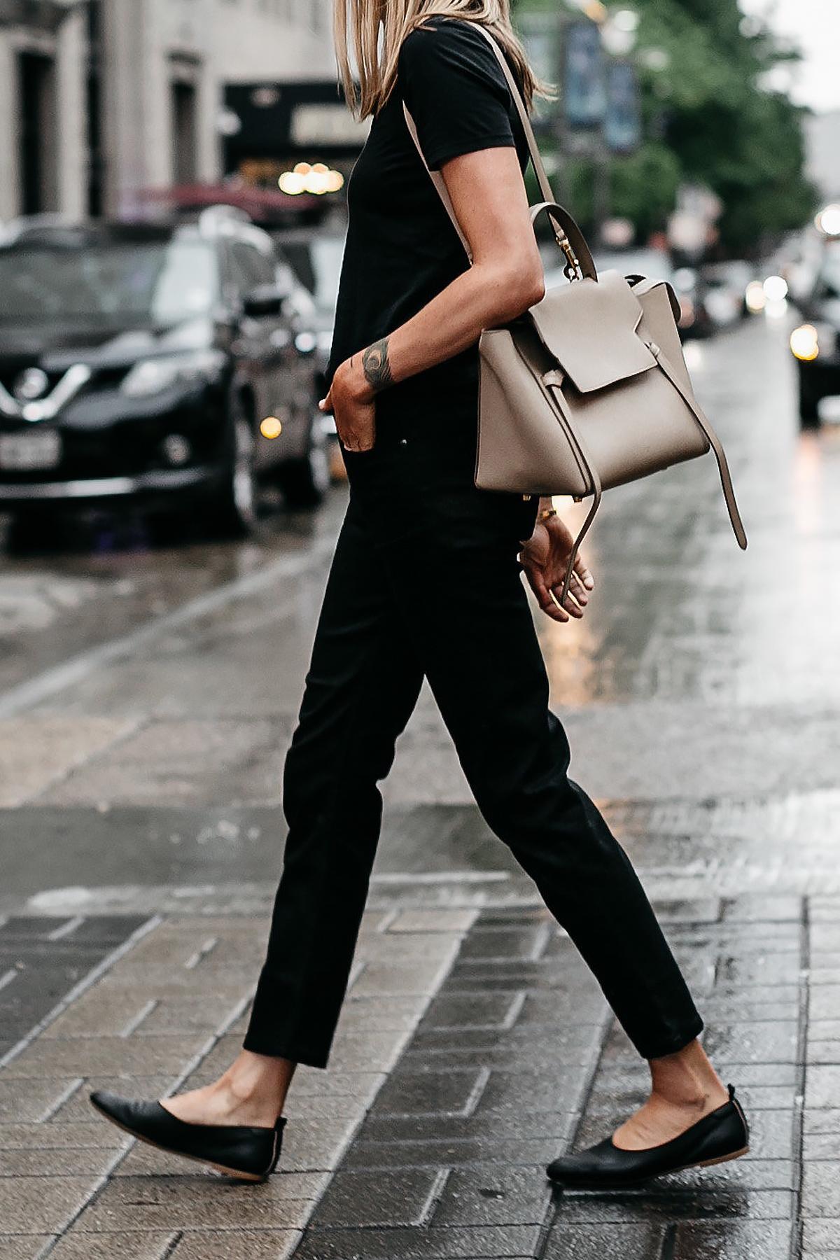 Woman Wearing Everlane Black Tshirt Everlane Black Boyfriend Jeans Everlane Black Day Glove Flats Celine Mini Belt Bag Fashion Jackson Dallas Blogger Fashion Blogger Street Style